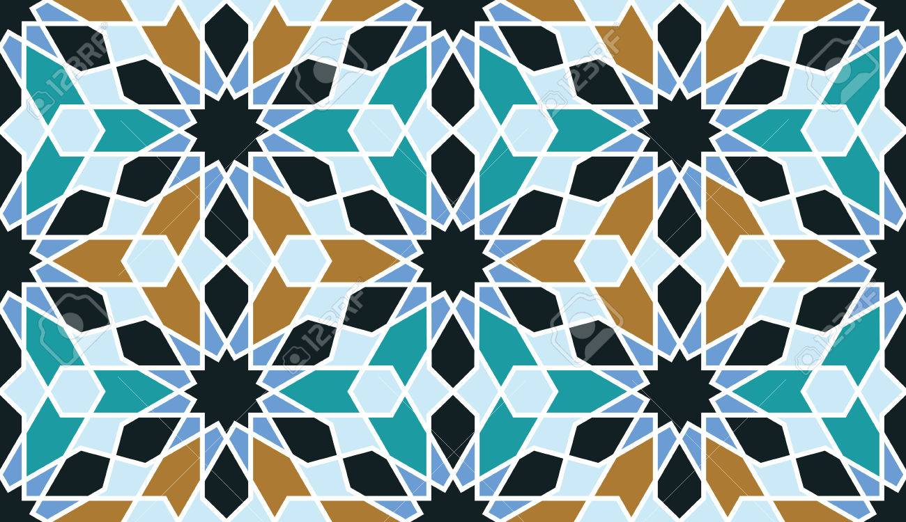 Seamless Pattern In Moroccan Style. Mosaic Tile. Islamic Traditional  Ornament. Geometric Background Stock