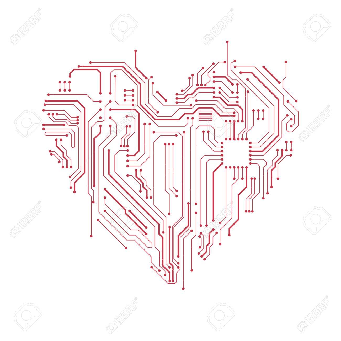 Computer Motherboard Wiring Diagram Symbols Schematic Diagrams Desktop Circuit Board Heart Symbol Valentines Day Vector Card