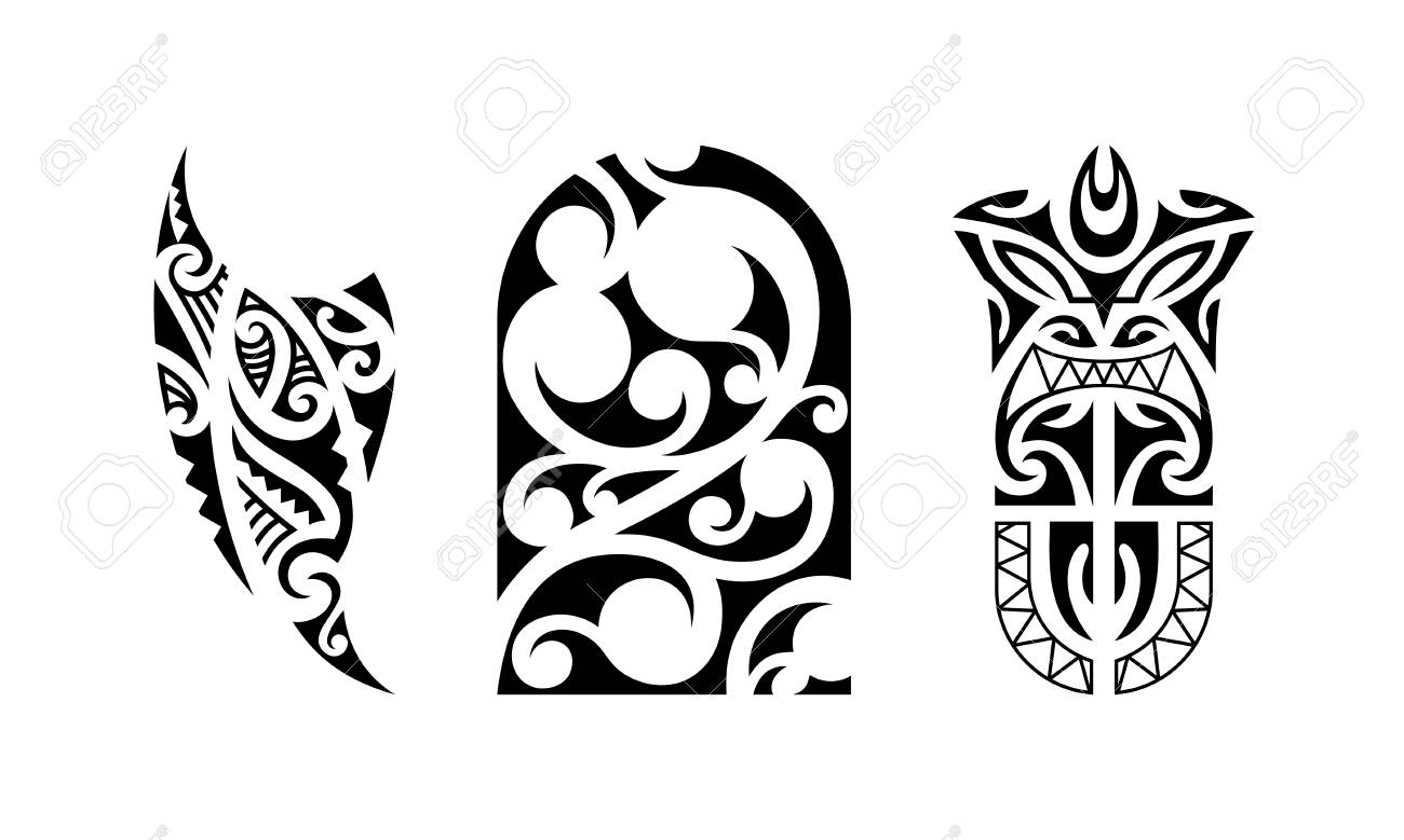 Set Of Polynesian Tattoo Traditional Maori Tribal Ornaments