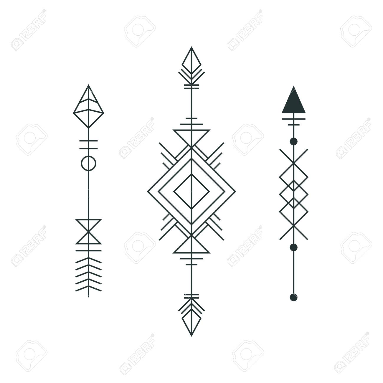 Set Of Graphic Arrows For Tattoo Design Vector Minimalism Geometry