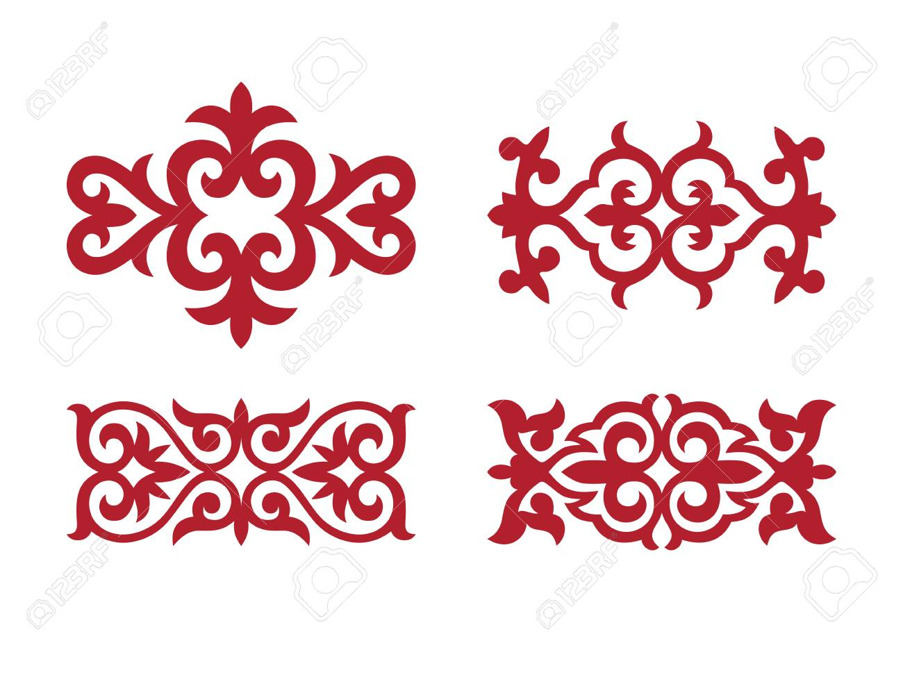 Traditional ornament of middle Asia for decoration of clothes and yurts. Nomadic ornament. - 105814091
