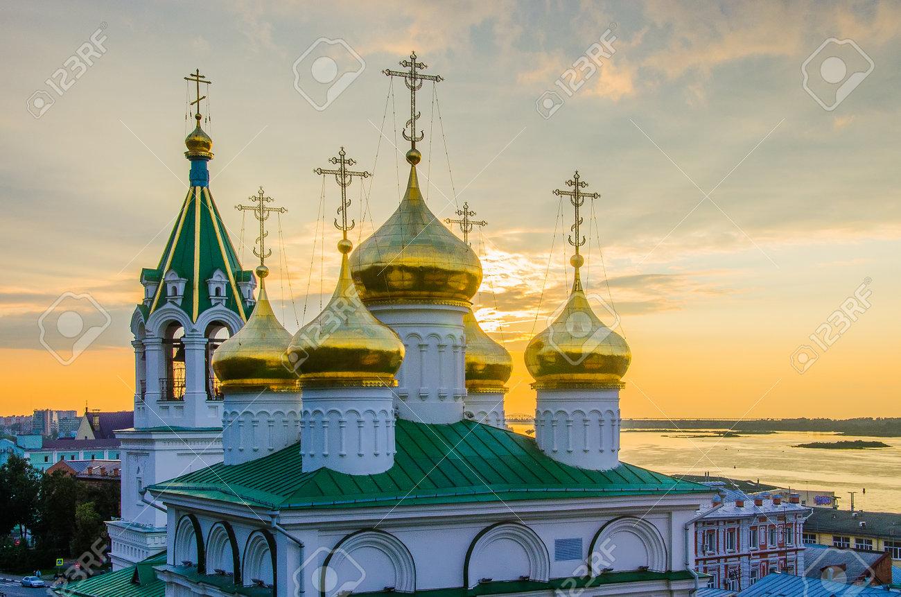 Nizhny Novgorod, Russia - August, 2020: Golden domes of the Church of the Nativity of John the Baptist in Nizhny Novgorod - 162016163