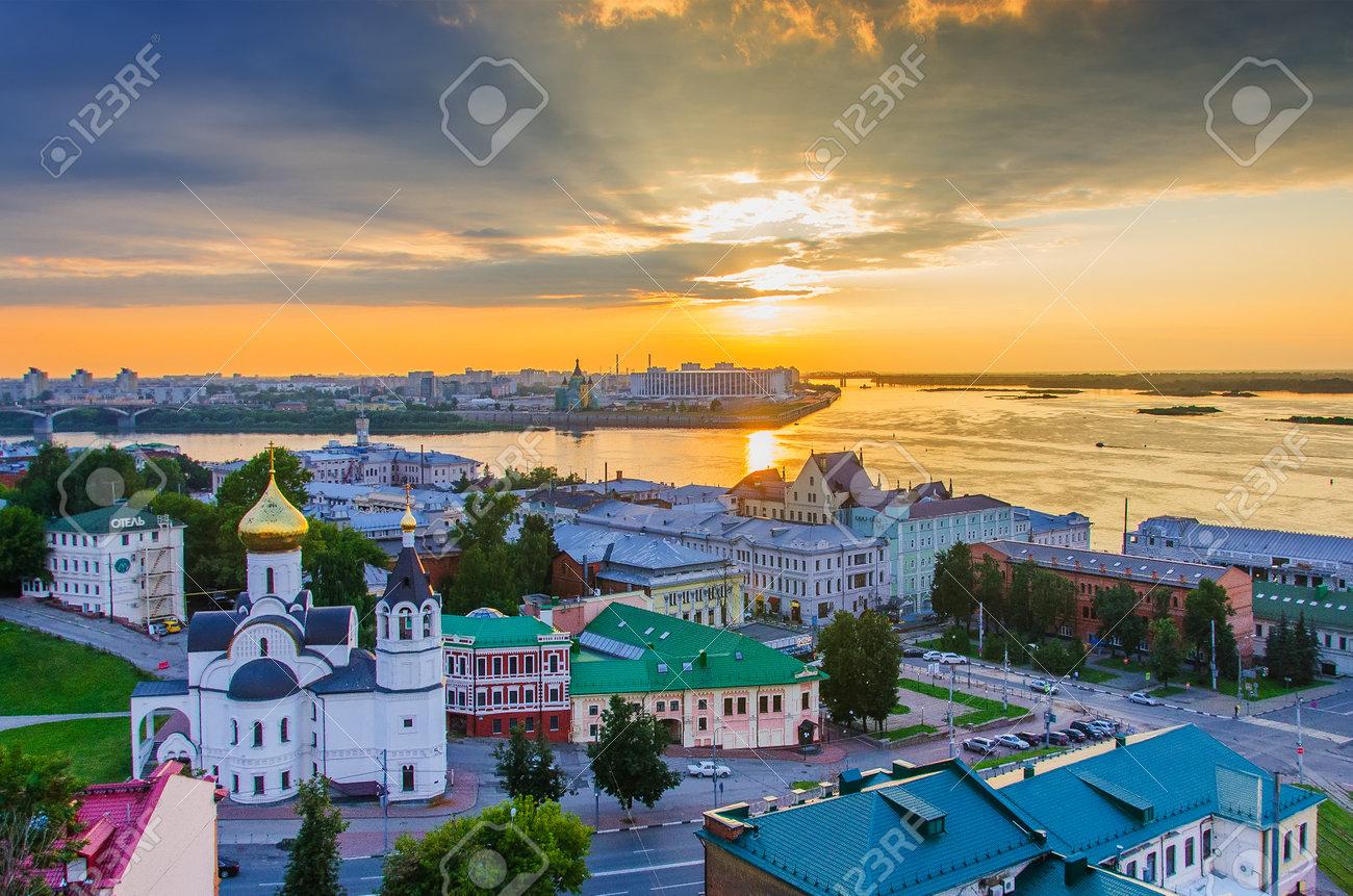 Nizhny Novgorod, Russia - August, 2020: Panorama of Nizhny Novgorod overlooking the Temple of the Kazan Icon of the Mother of God and the Oka and Volga rivers - 162098249