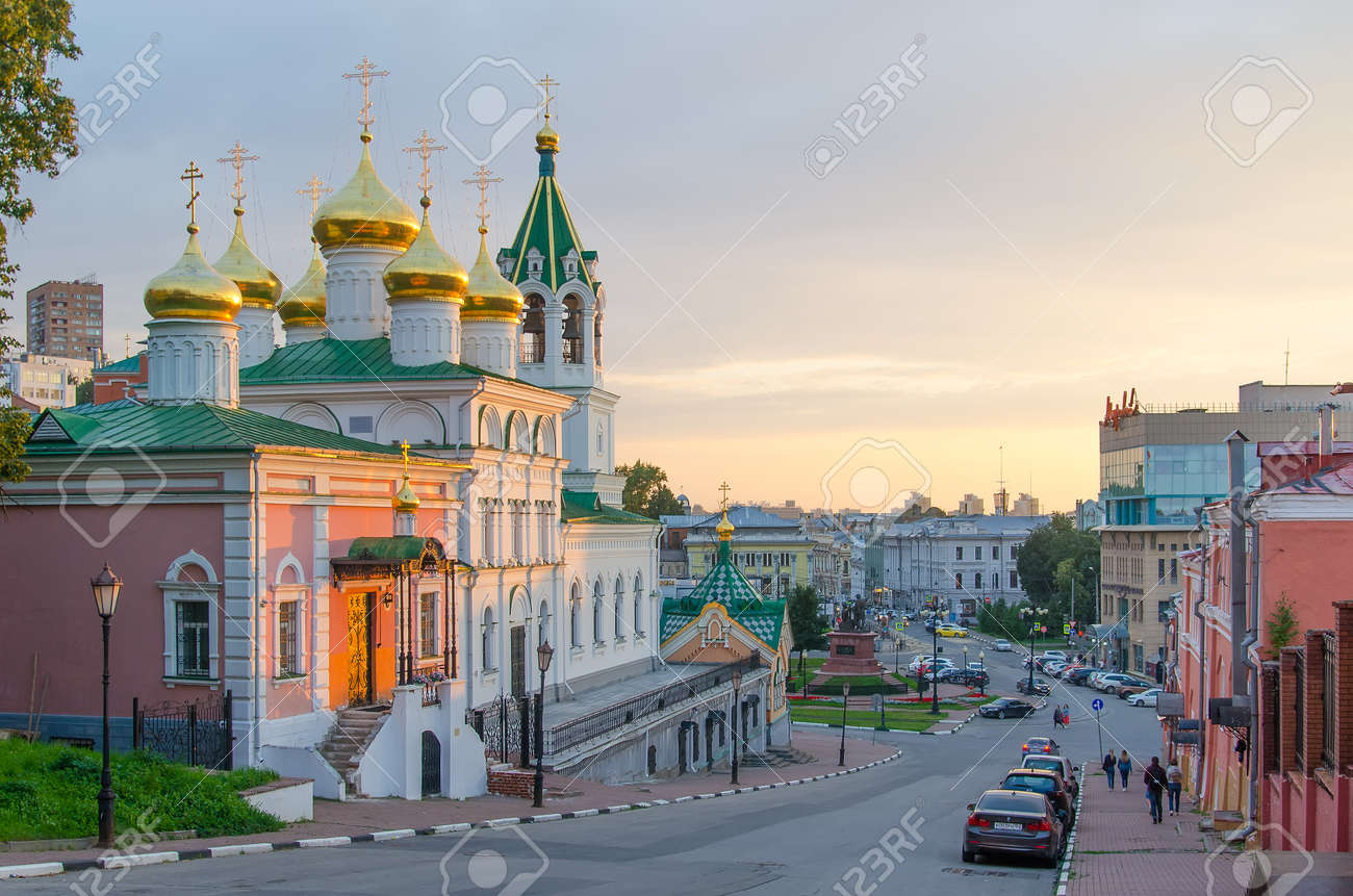 Nizhny Novgorod, Russia - August, 2020: Golden domes of the Church of the Nativity of John the Baptist in Nizhny Novgorod - 162098246