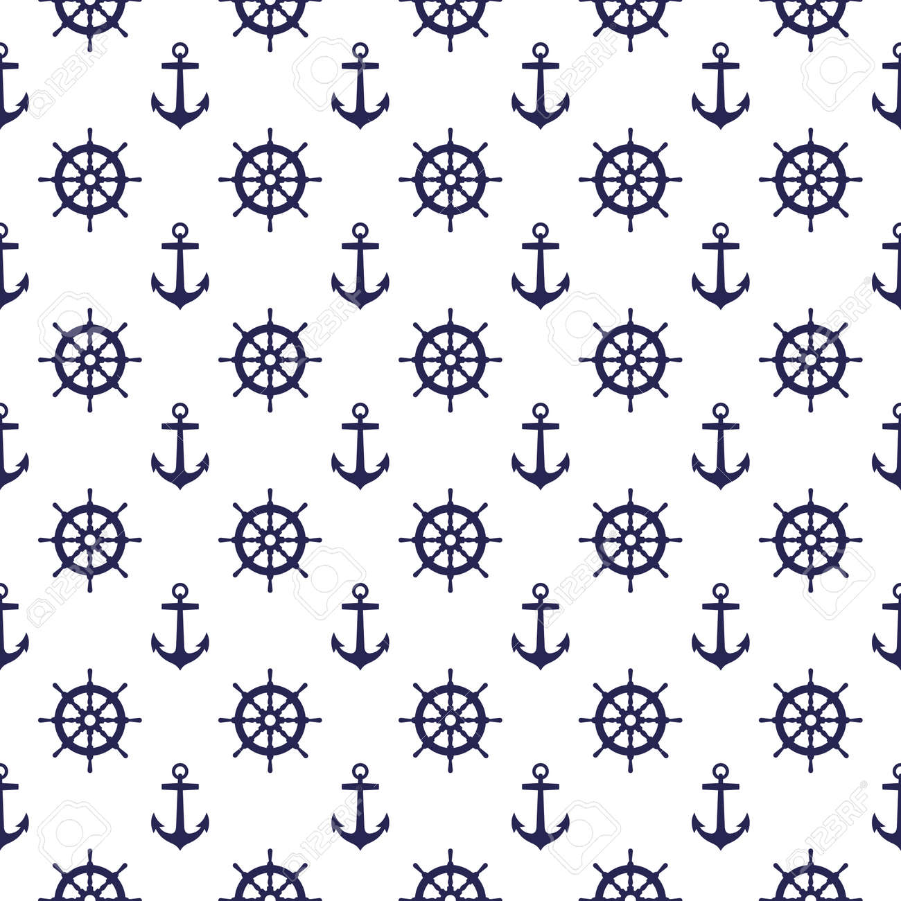 Seamless nautical pattern with anchors and steering wheels. Design element for wallpapers - 171414901