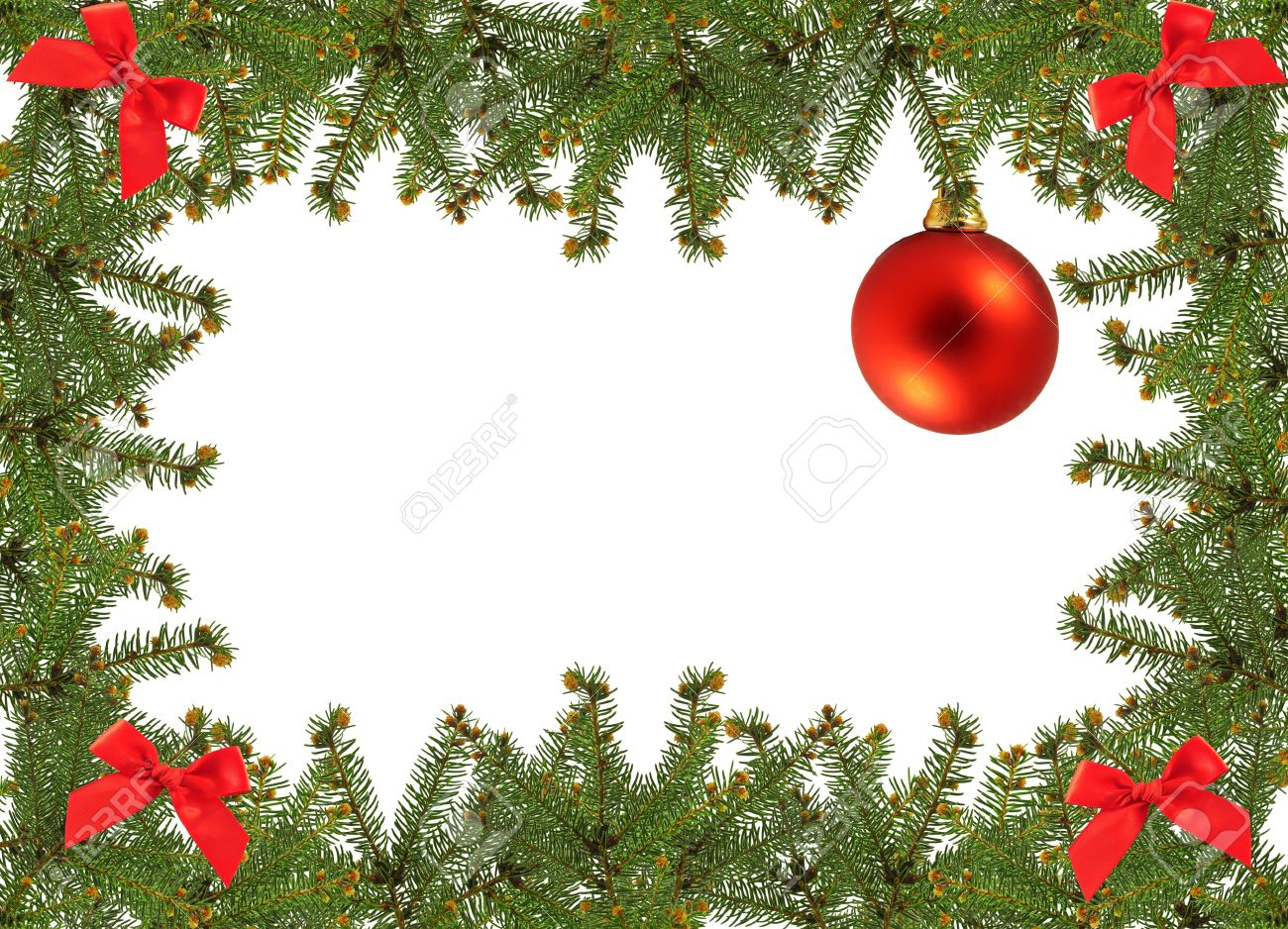 frame of pine branches and christmas ornament stock photo picture