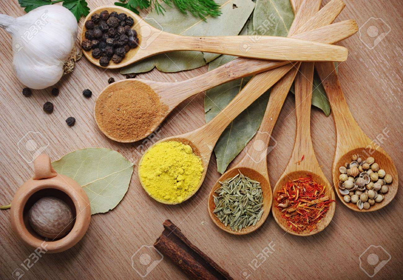 Various of spices in wooden spoon Stock Photo - 9369044