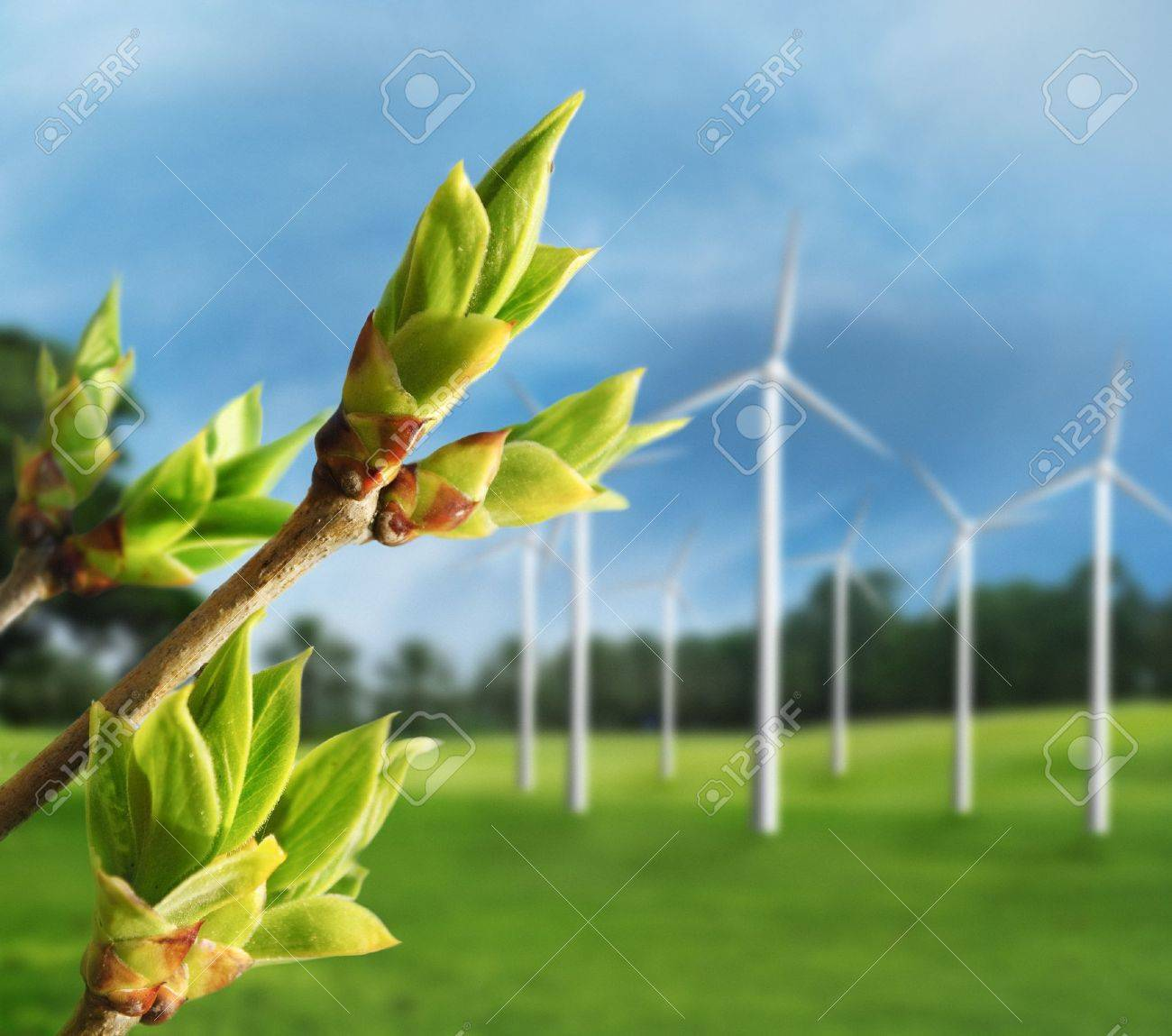 Ecology concept. Renewable energy from wind turbines. - 12803262
