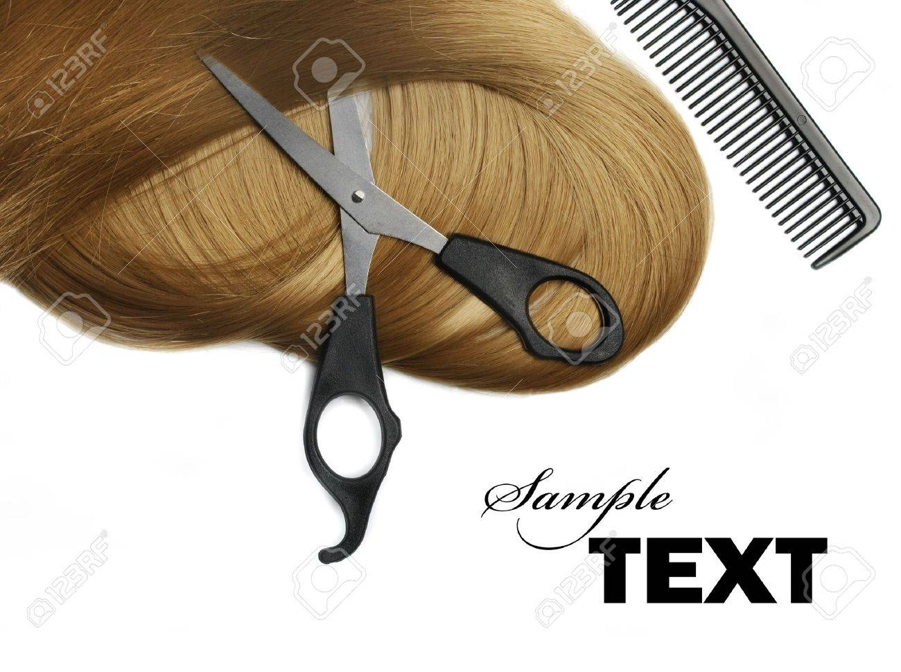 Long healthy blond hair and professional scissors over white Stock Photo - 13123960