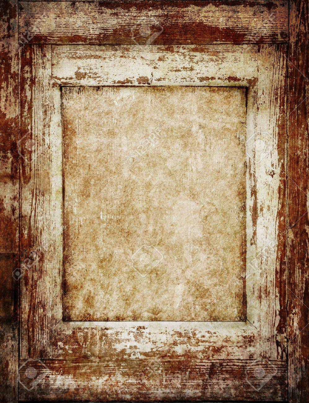 Stock Photo   Vintage Wooden Frame With Empty Space Inside