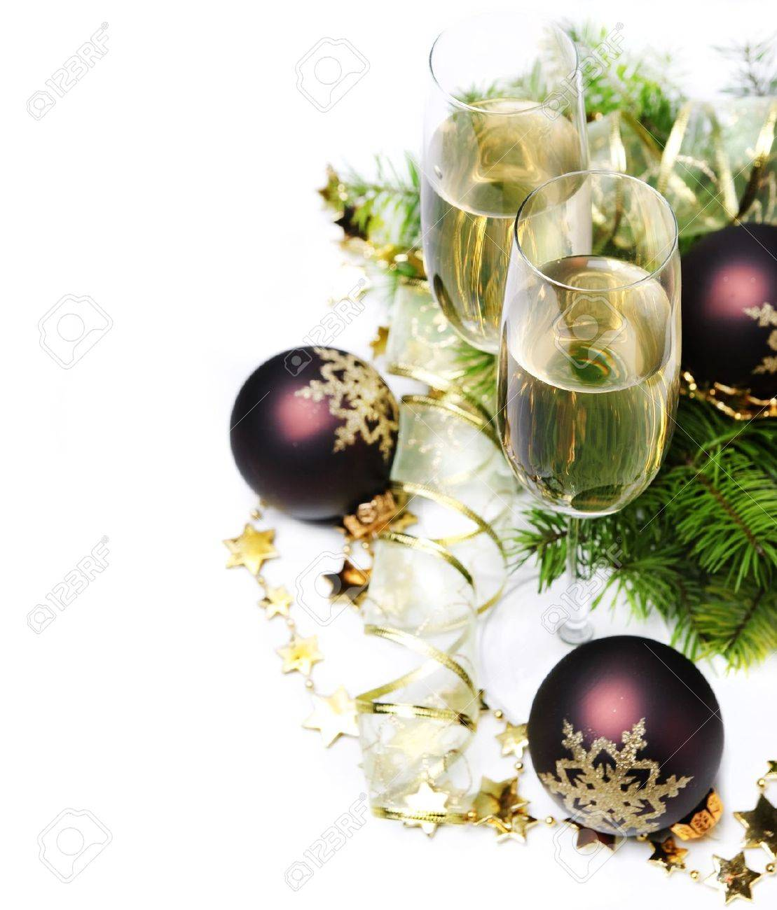 Two champagne glasses and christmas ornaments - 16237323