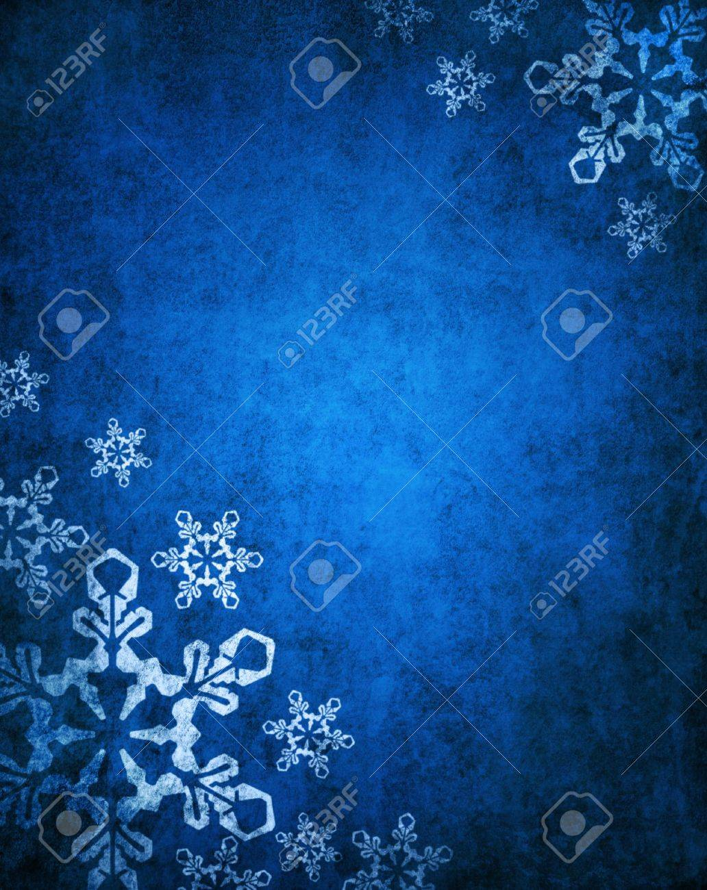 Christmas blue background with white snowflakes - 16478777