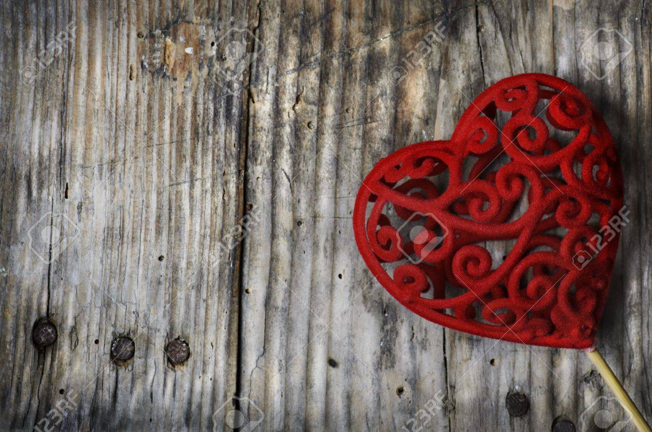 Valentine heart on rustic wooden background - 17585216