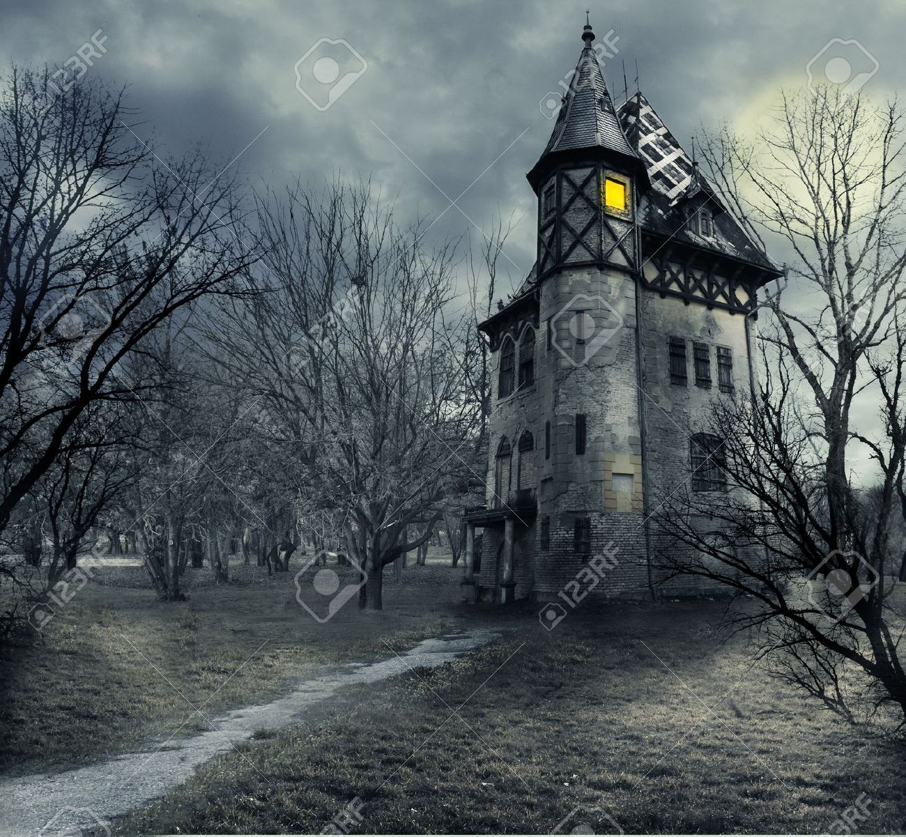 Halloween design with haunted house - 21724809