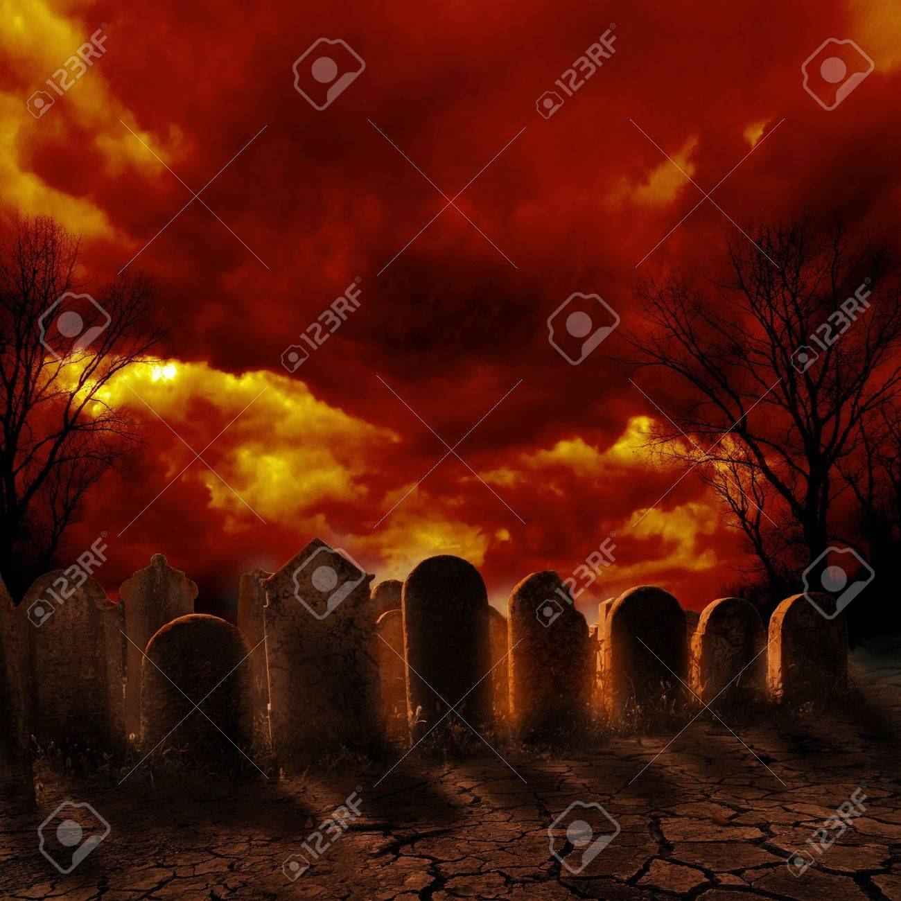 Spooky graveyard with burning sky - 22033503