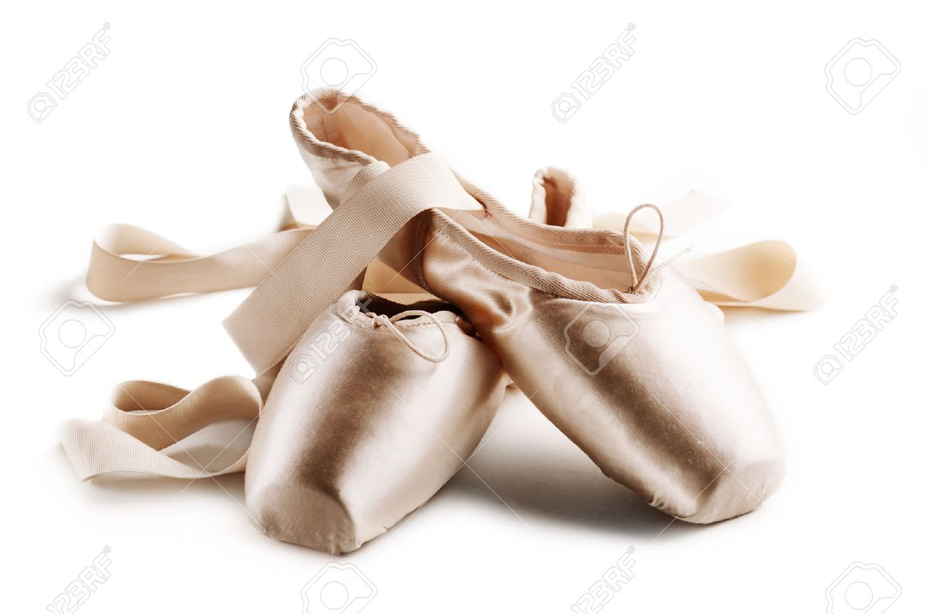 Pointe shoes isolated over white background - 24522906
