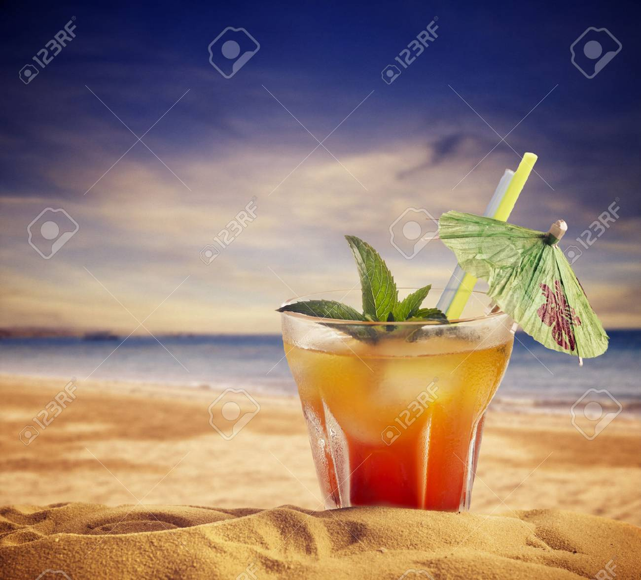 Cocktail and sandy beach. summer concept. - 29384976