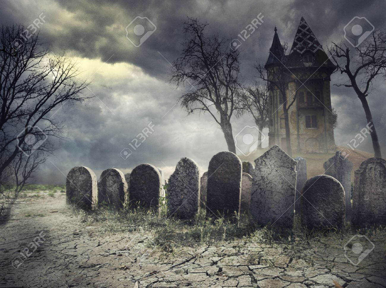 hounted house on spooky graveyard stock photo picture and royalty
