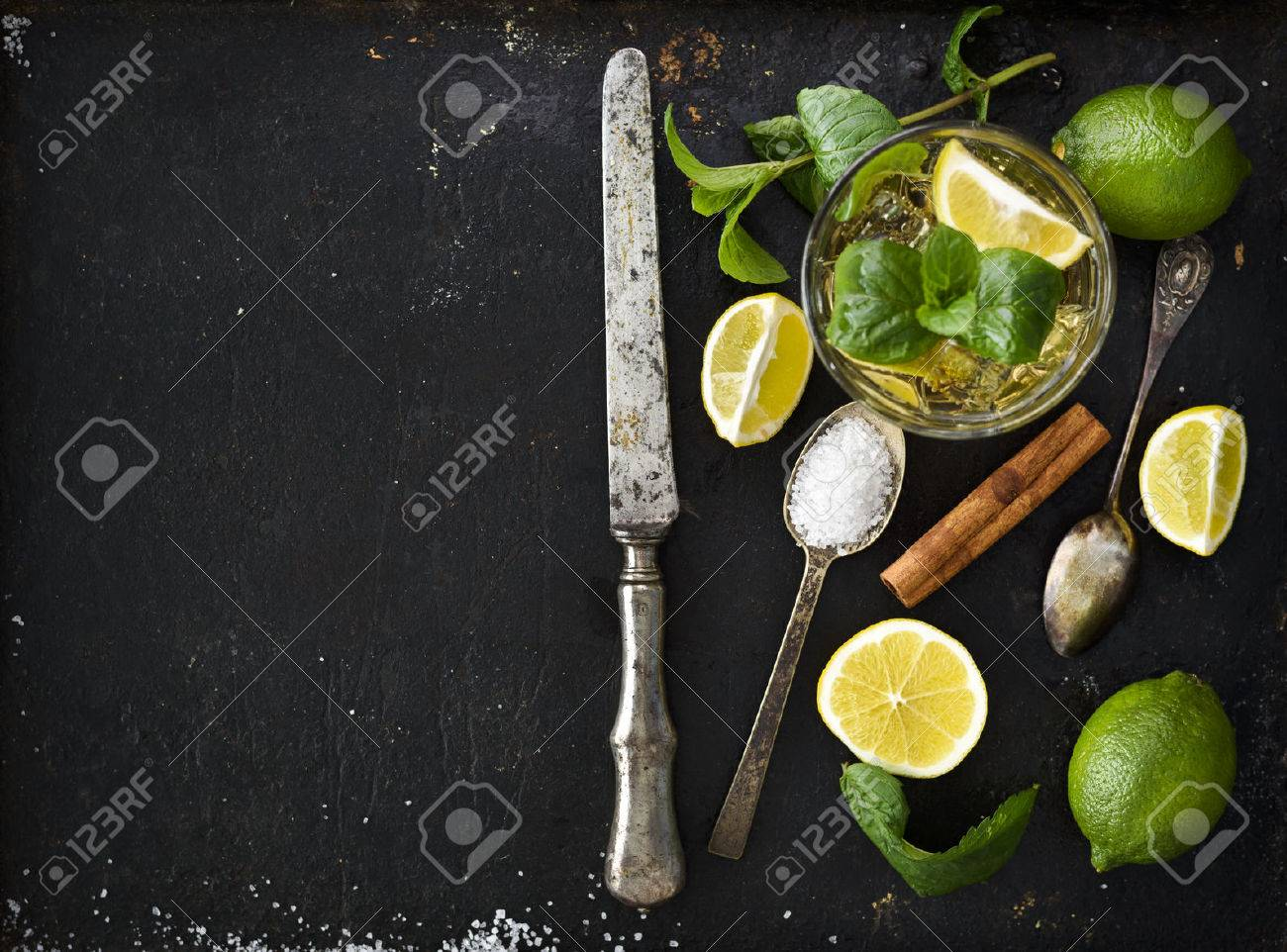 Mojito ingredients on black rustick background - 50098534