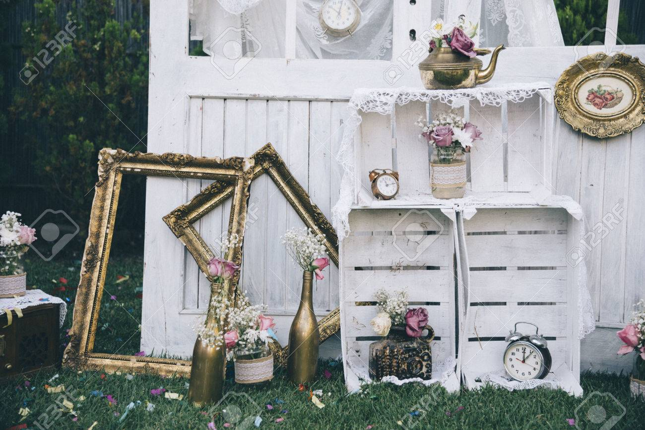 Vintage still life decoration for wedding reception. Marriage and love concept in retro style. Bridal arrangement. - 72761123