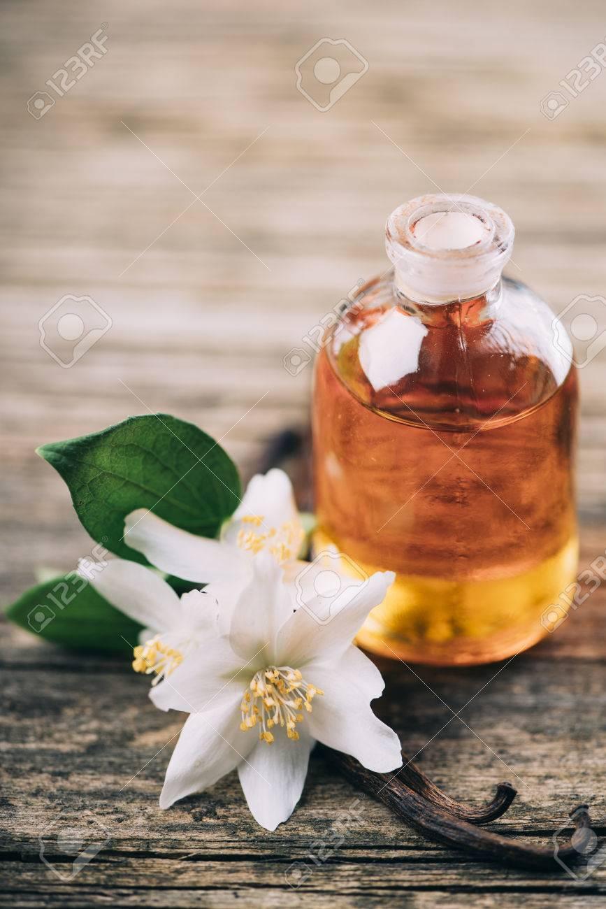 Essential Oil With Jasmine Flower And Vanilla Aromatherapy Massage