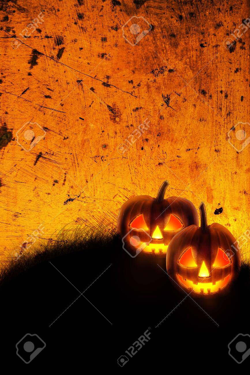 Halloween Wallpaper With Jack O Lantern Scary Pumpkins On Grunge