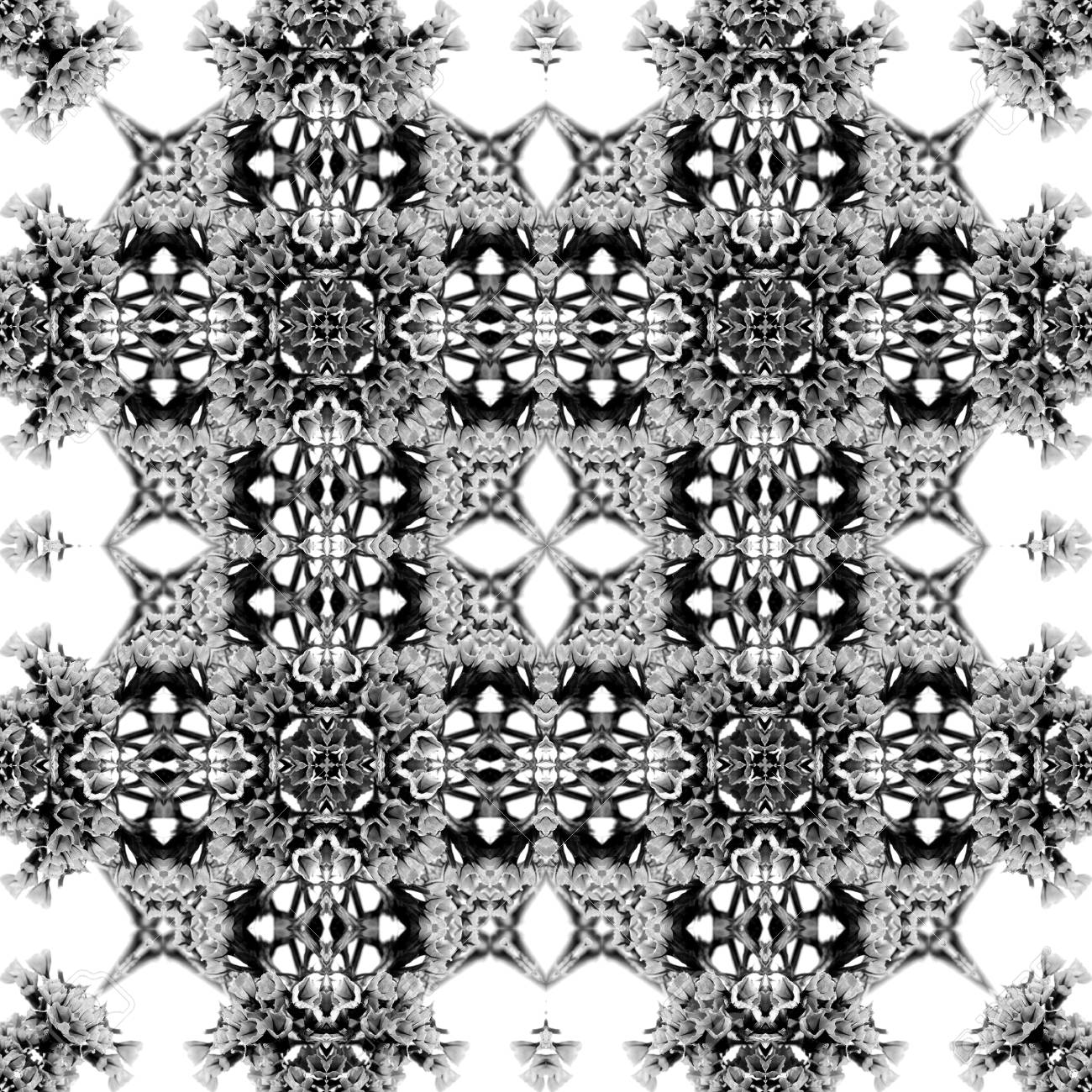 Abstract seamless pattern. Black and White background. Kaleidoscope from flowers. Hydraulic tile design. - 104074802