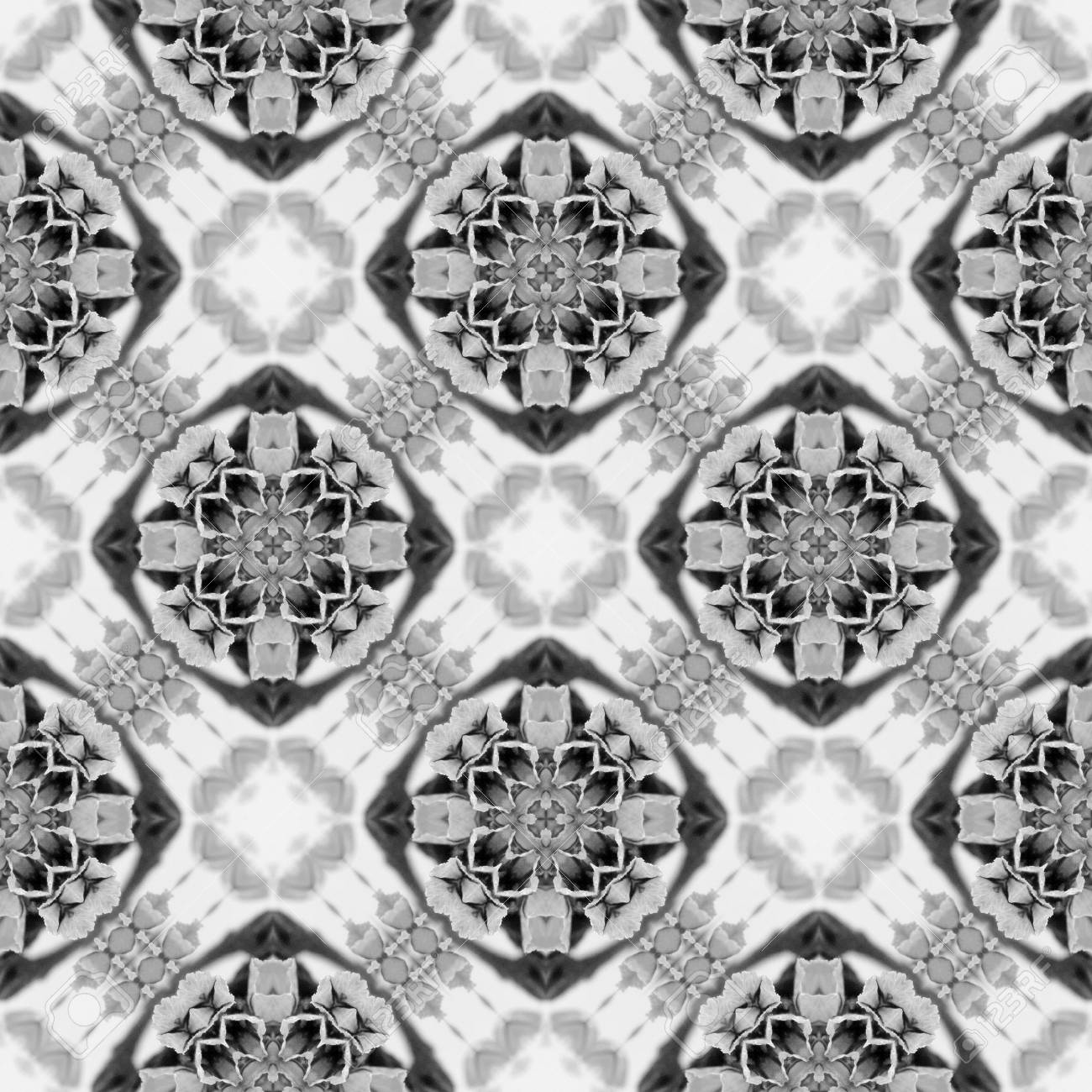 Abstract seamless pattern. Black and White background. Kaleidoscope from flowers. Hydraulic tile design. - 104074803