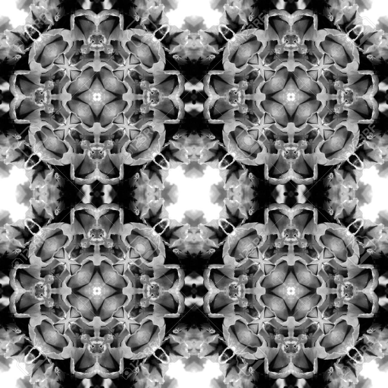 Abstract seamless pattern. Black and White background. Kaleidoscope from flowers. Hydraulic tile design. - 104074805