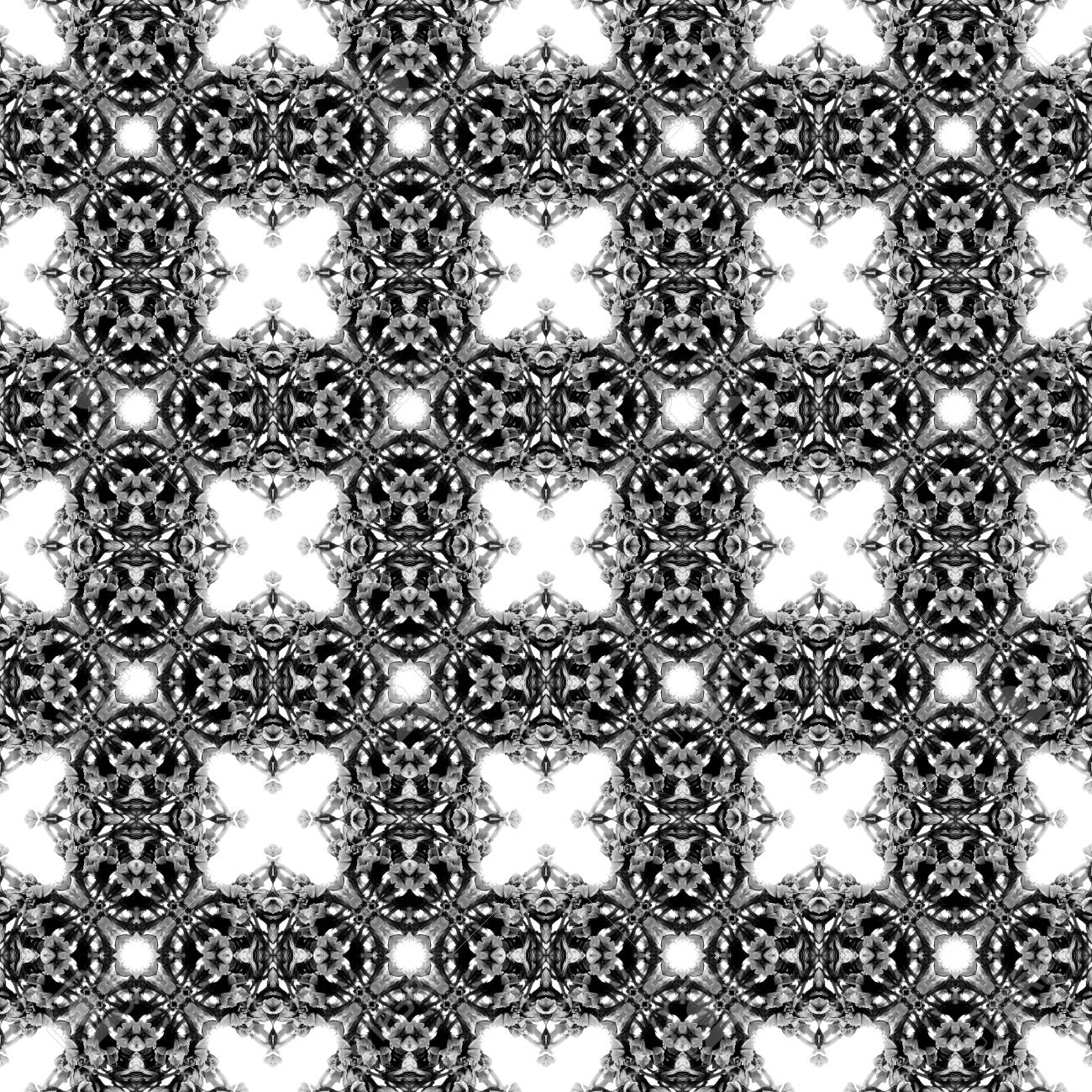 Abstract seamless pattern. Black and White background. Kaleidoscope from flowers. Hydraulic tile design. - 104074809