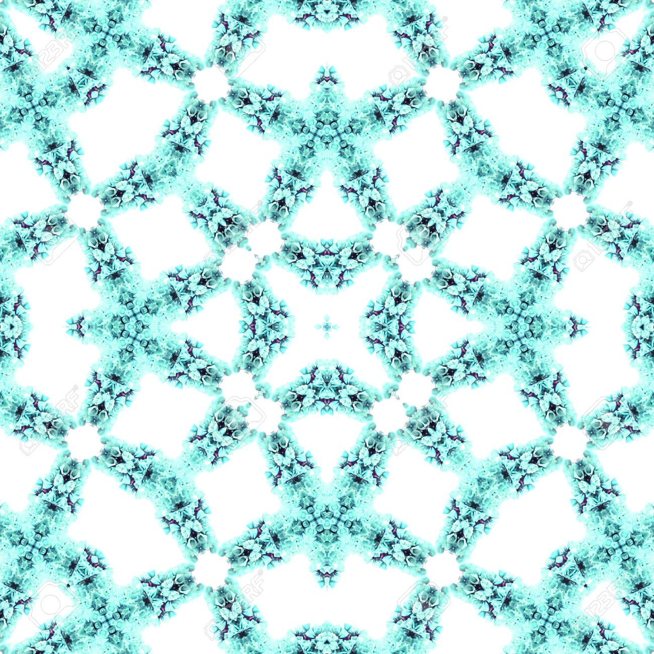 Abstract flowers seamless pattern background. Kaleidoscope from flowers. Hydraulic tile design. - 104074823