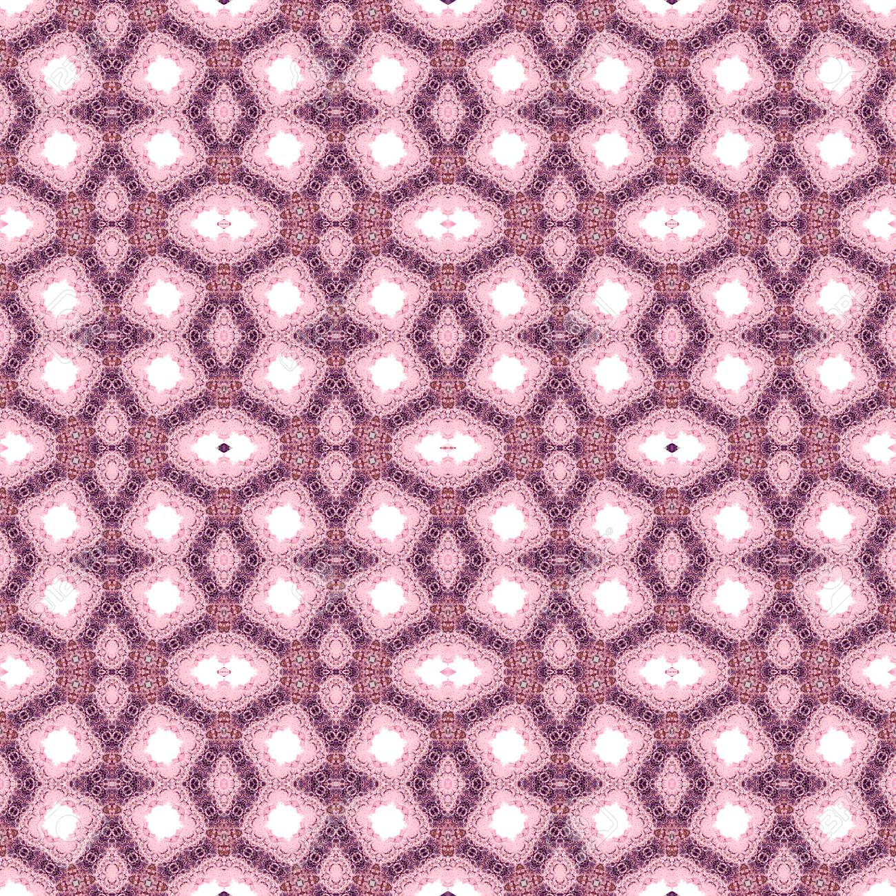 Abstract flowers seamless pattern background. Kaleidoscope from flowers. Hydraulic tile design. - 104074827