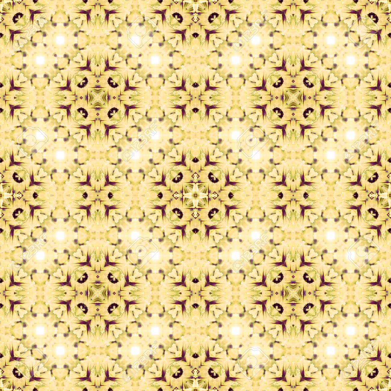 Abstract flowers seamless pattern background. Kaleidoscope from flowers. Hydraulic tile design. - 104074676