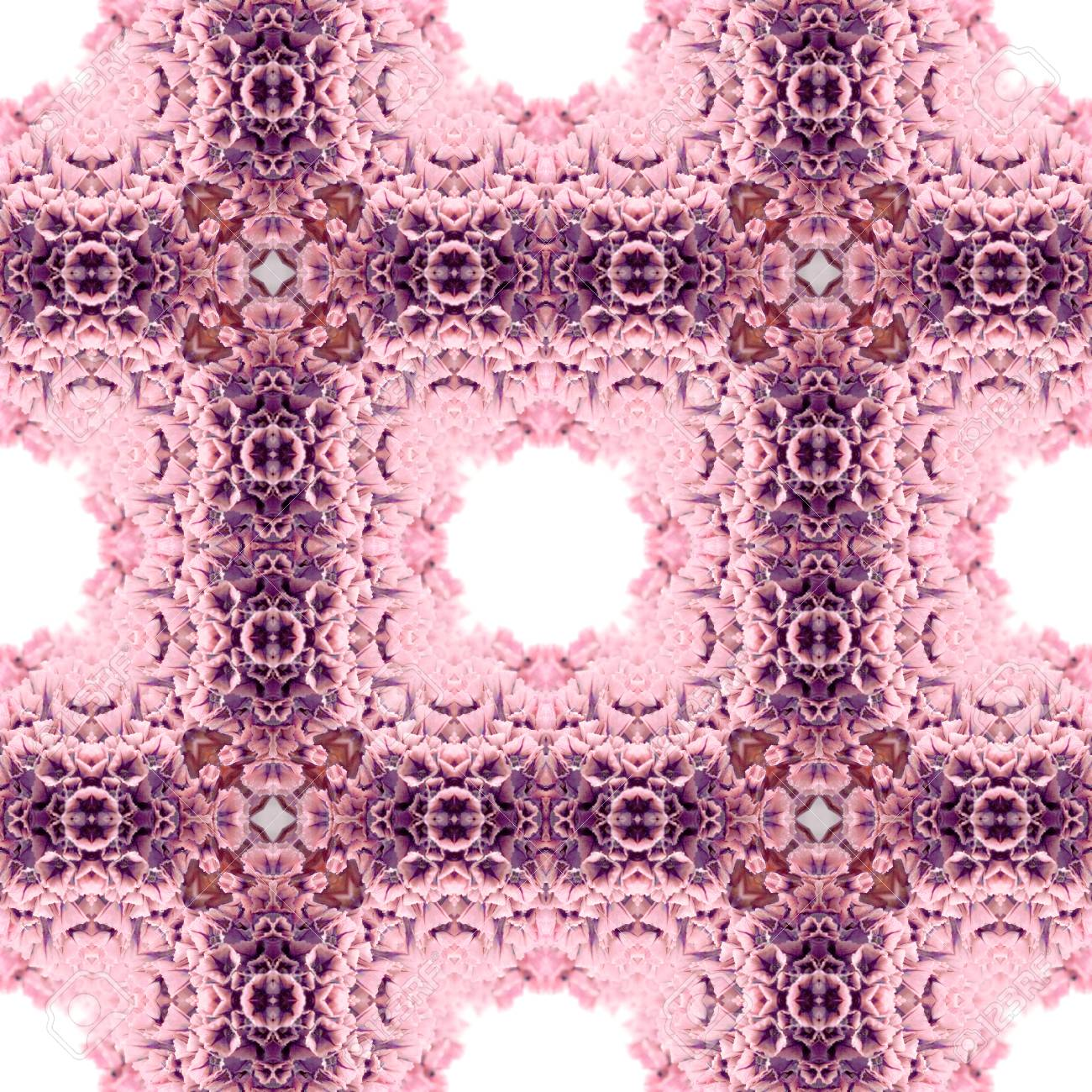 Abstract flowers seamless pattern background. Kaleidoscope from flowers. Hydraulic tile design. - 104074681