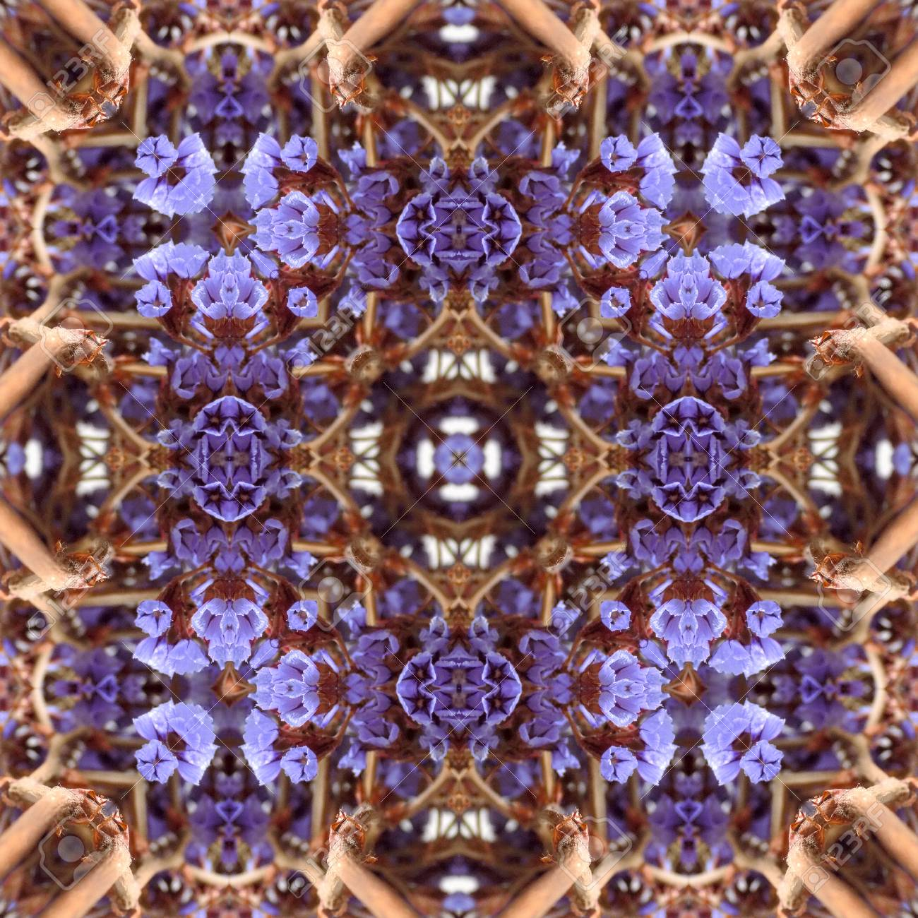 Abstract flowers seamless pattern background. Kaleidoscope from flowers. Hydraulic tile design. - 104074684