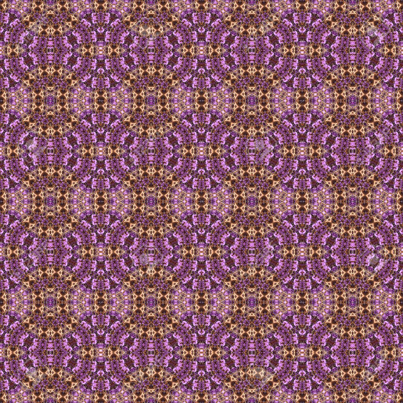 Abstract flowers seamless pattern background. Kaleidoscope from flowers. Hydraulic tile design. - 104074685