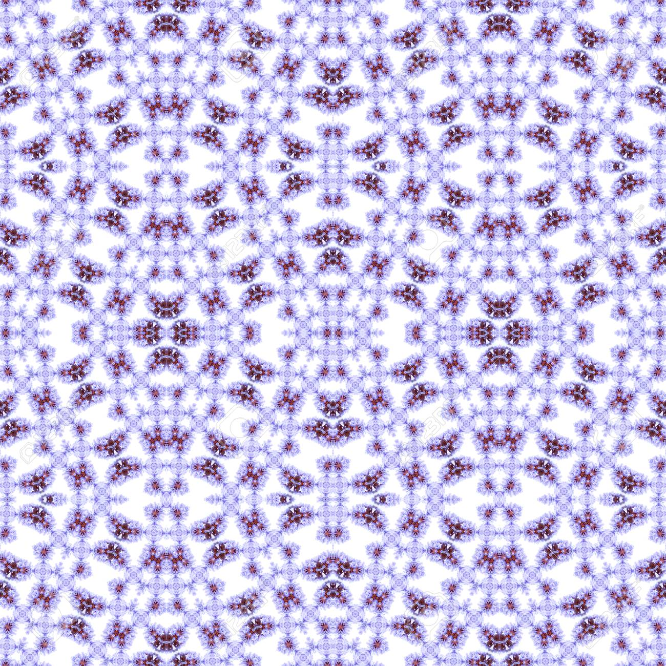 Abstract flowers seamless pattern background. Kaleidoscope from flowers. Hydraulic tile design. - 104075025