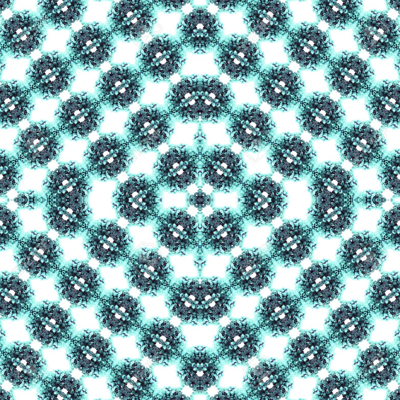 Abstract flowers seamless pattern background. Kaleidoscope from flowers. Hydraulic tile design. - 104075027