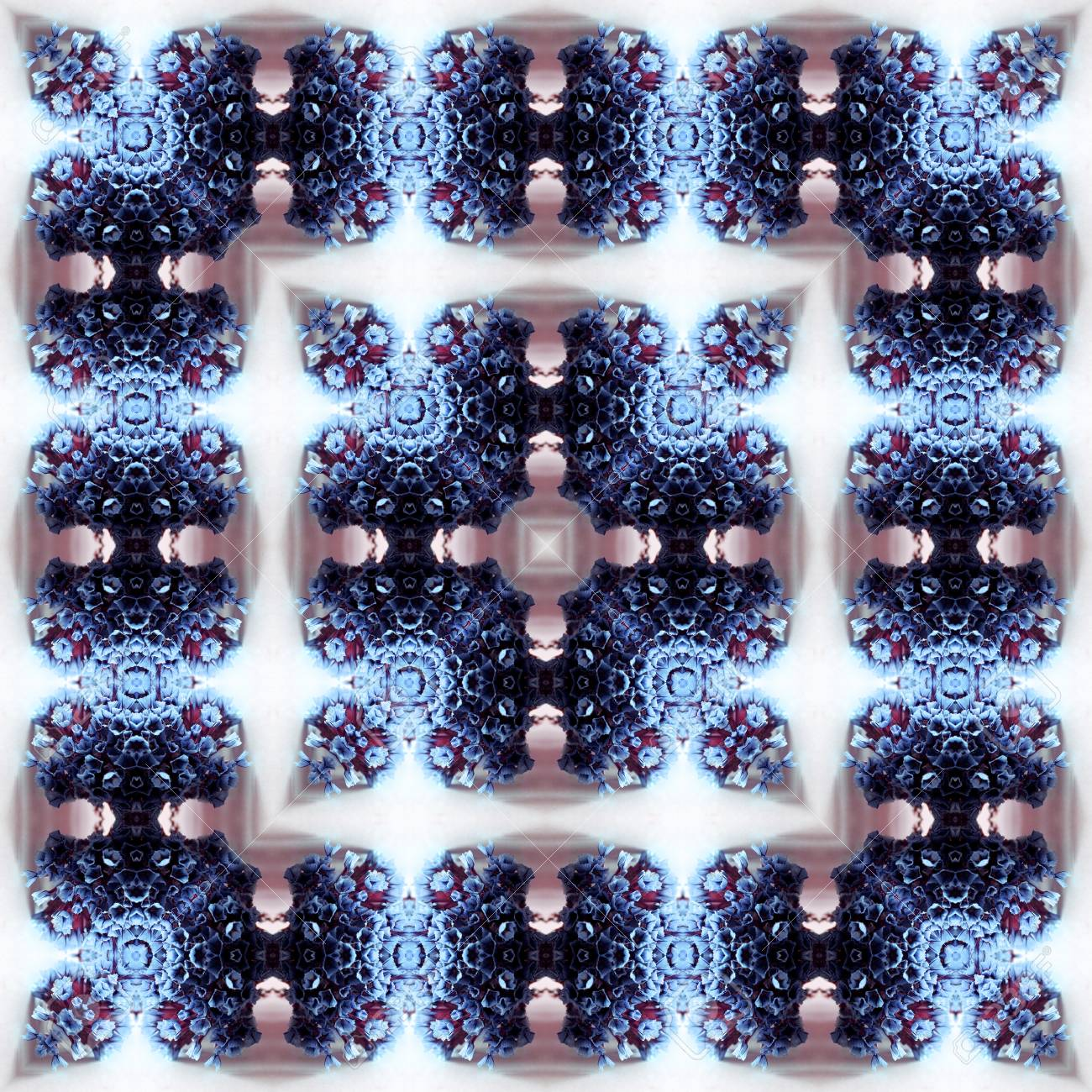 Abstract flowers seamless pattern background. Kaleidoscope from flowers. Hydraulic tile design. - 104075029