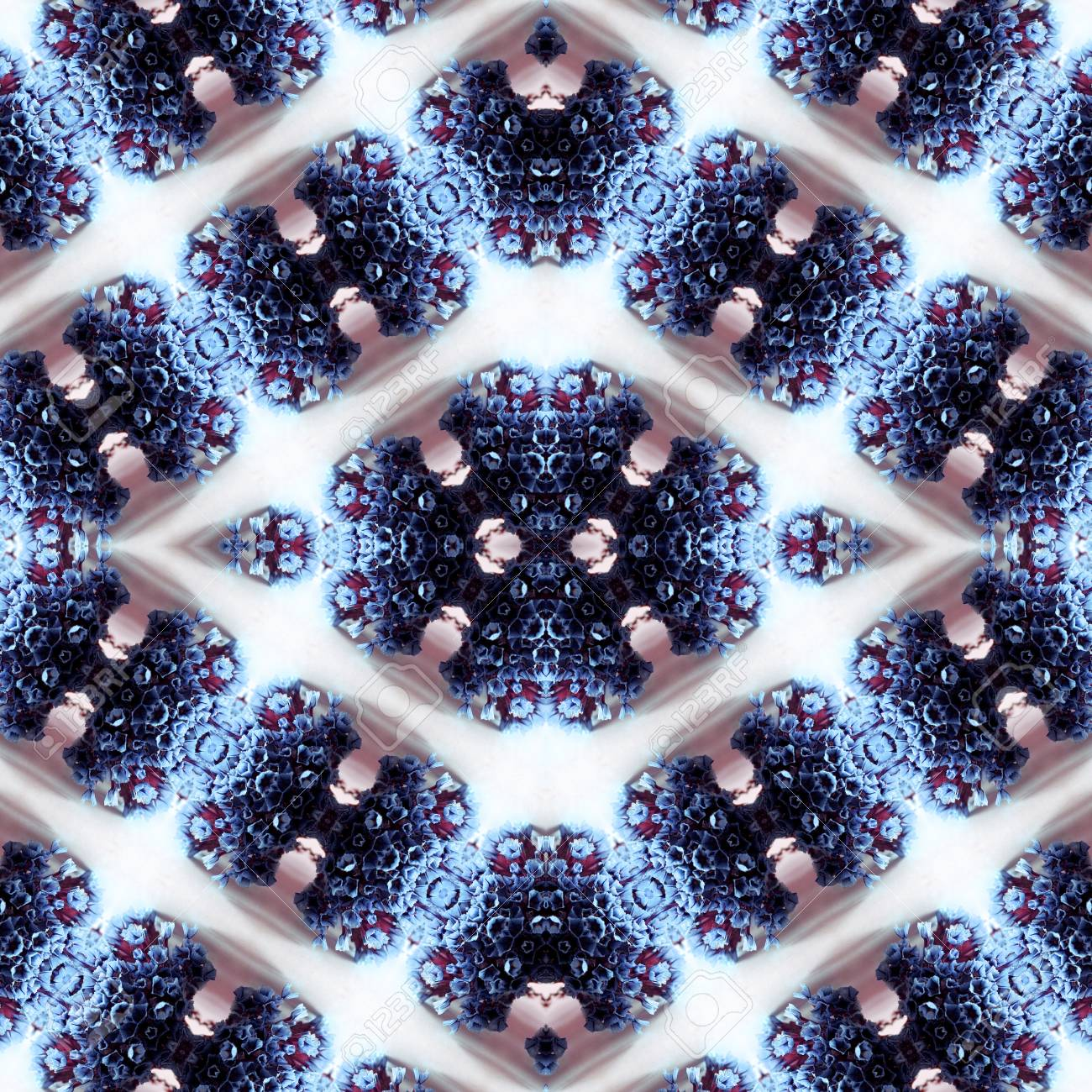 Abstract flowers seamless pattern background. Kaleidoscope from flowers. Hydraulic tile design. - 104075031