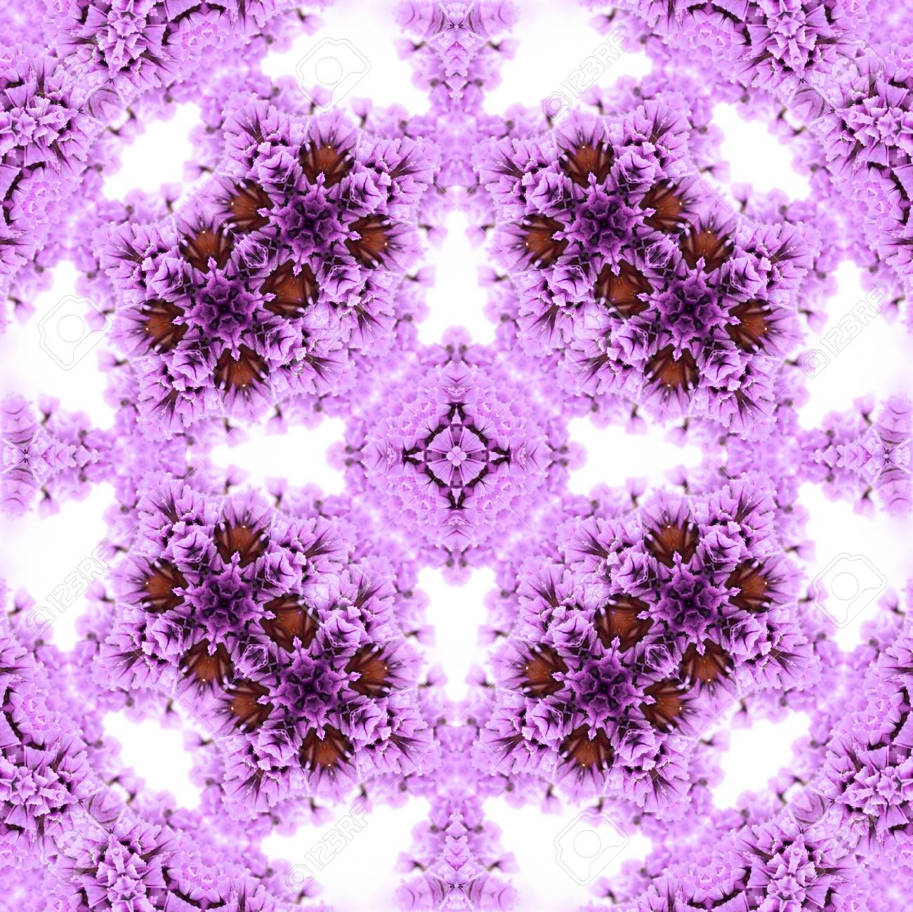 Abstract flowers seamless pattern background. Kaleidoscope from flowers. Hydraulic tile design. - 104075041