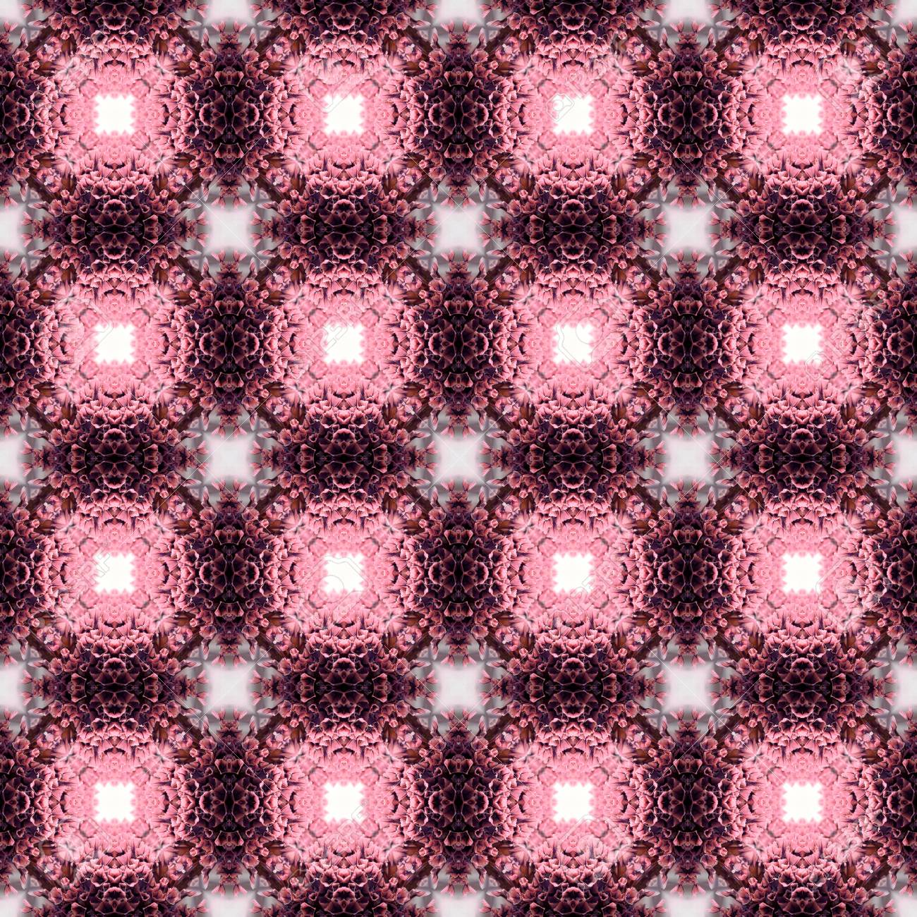 Abstract flowers seamless pattern background. Kaleidoscope from flowers. Hydraulic tile design. - 104074901