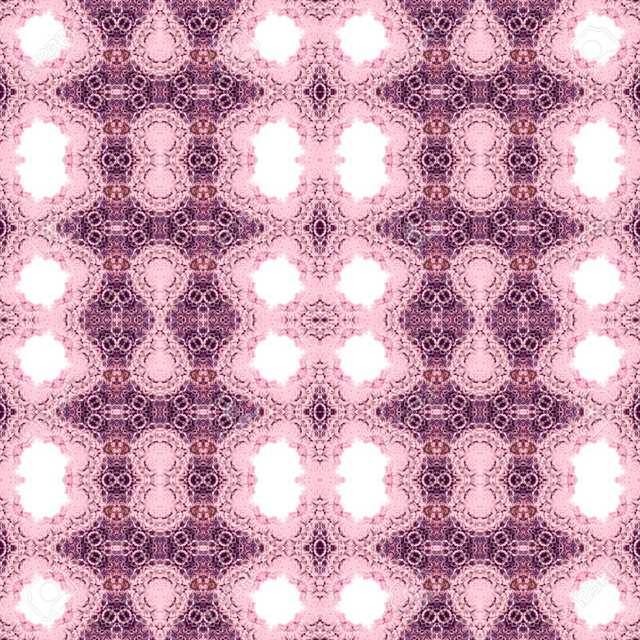 Abstract flowers seamless pattern background. Kaleidoscope from flowers. Hydraulic tile design. - 104074907