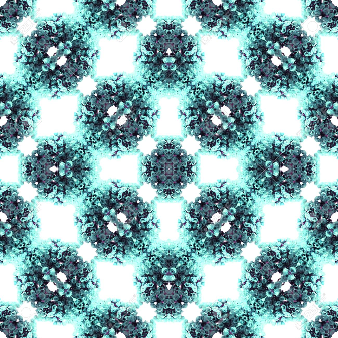Abstract flowers seamless pattern background. Kaleidoscope from flowers. Hydraulic tile design. - 104074908