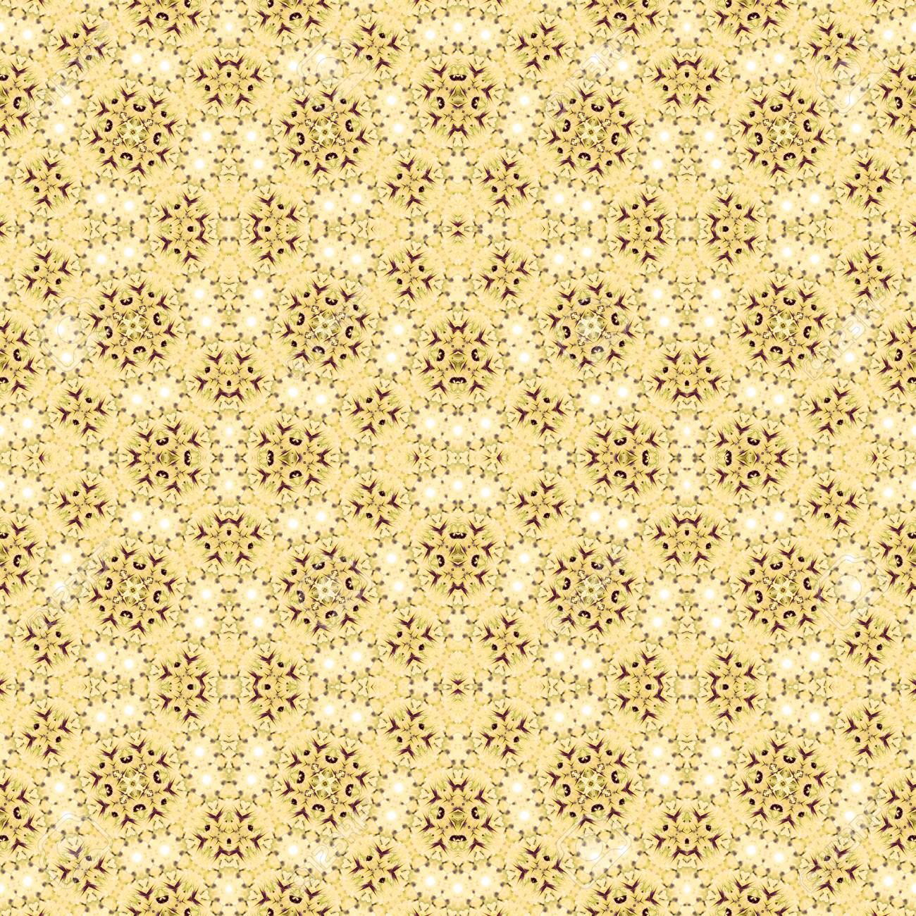Abstract flowers seamless pattern background. Kaleidoscope from flowers. Hydraulic tile design. - 104074909