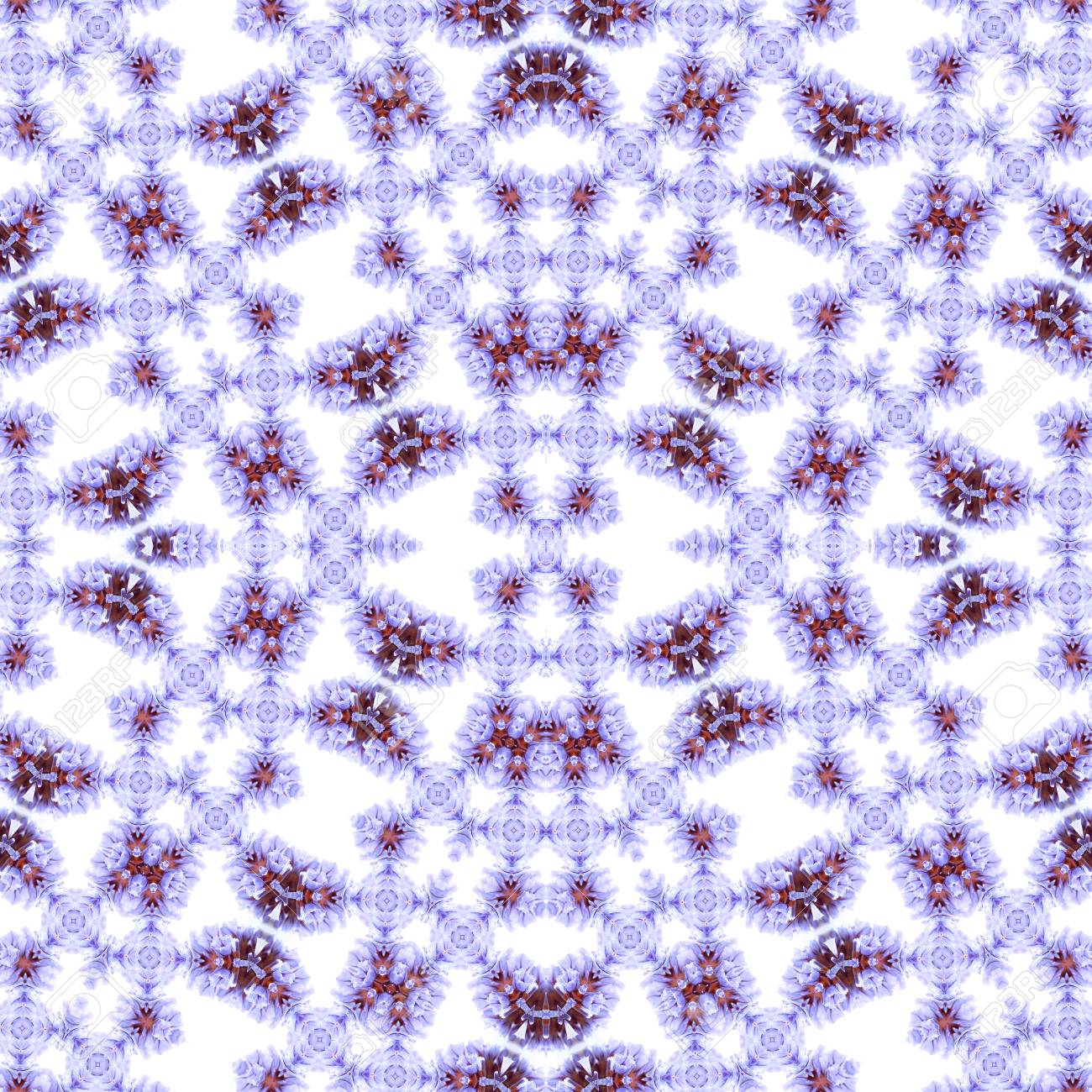 Abstract flowers seamless pattern background. Kaleidoscope from flowers. Hydraulic tile design. - 104074912