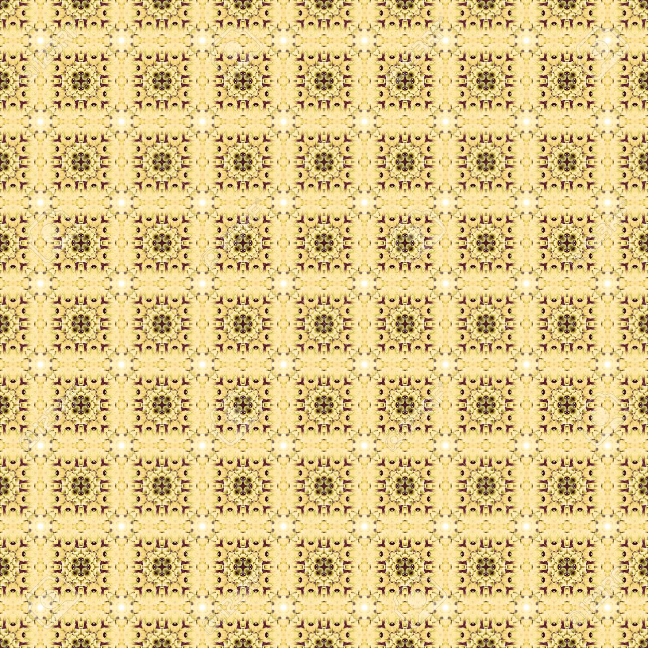 Abstract flowers seamless pattern background. Kaleidoscope from flowers. Hydraulic tile design. - 104074915