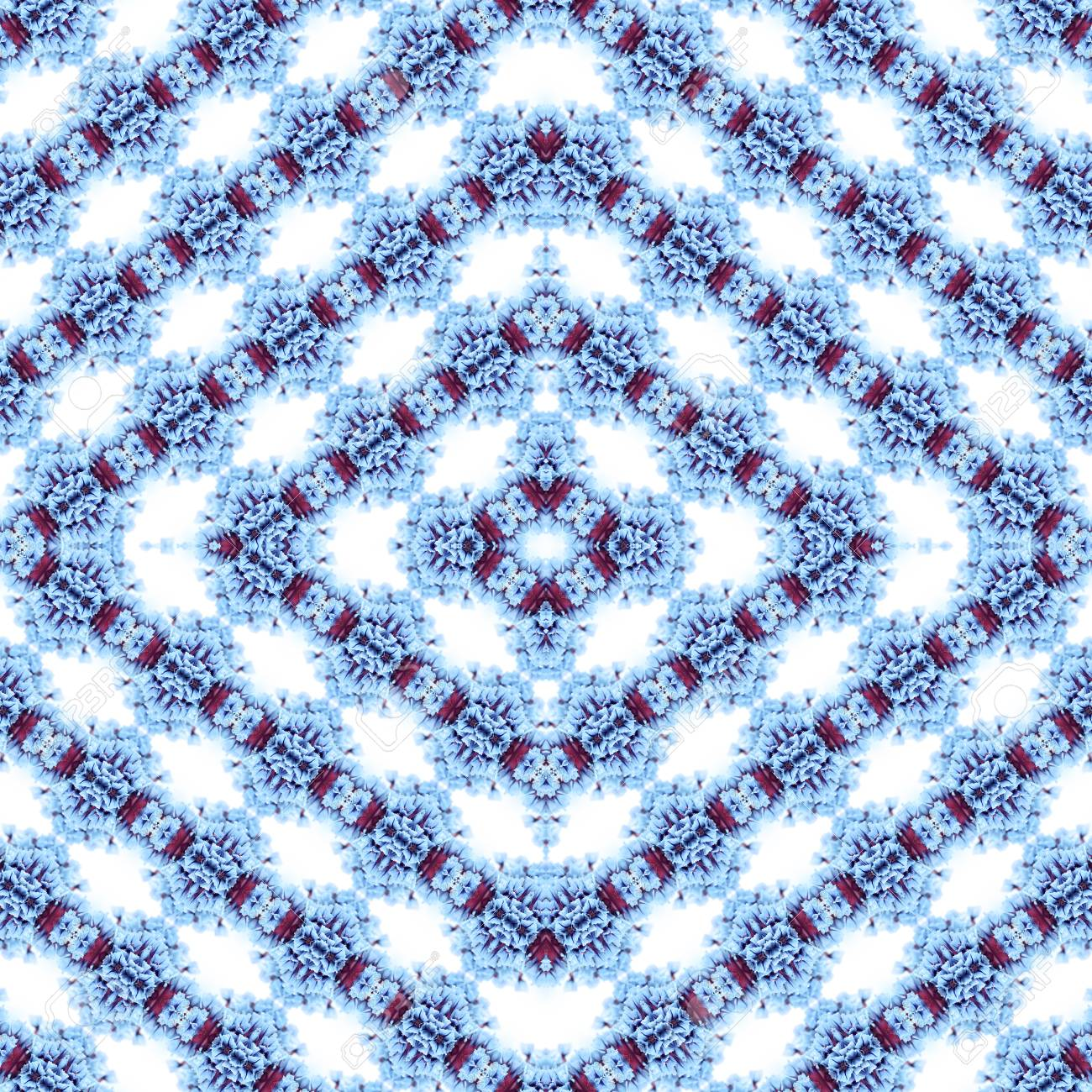 Abstract flowers seamless pattern background. Kaleidoscope from flowers. Hydraulic tile design. - 104074921
