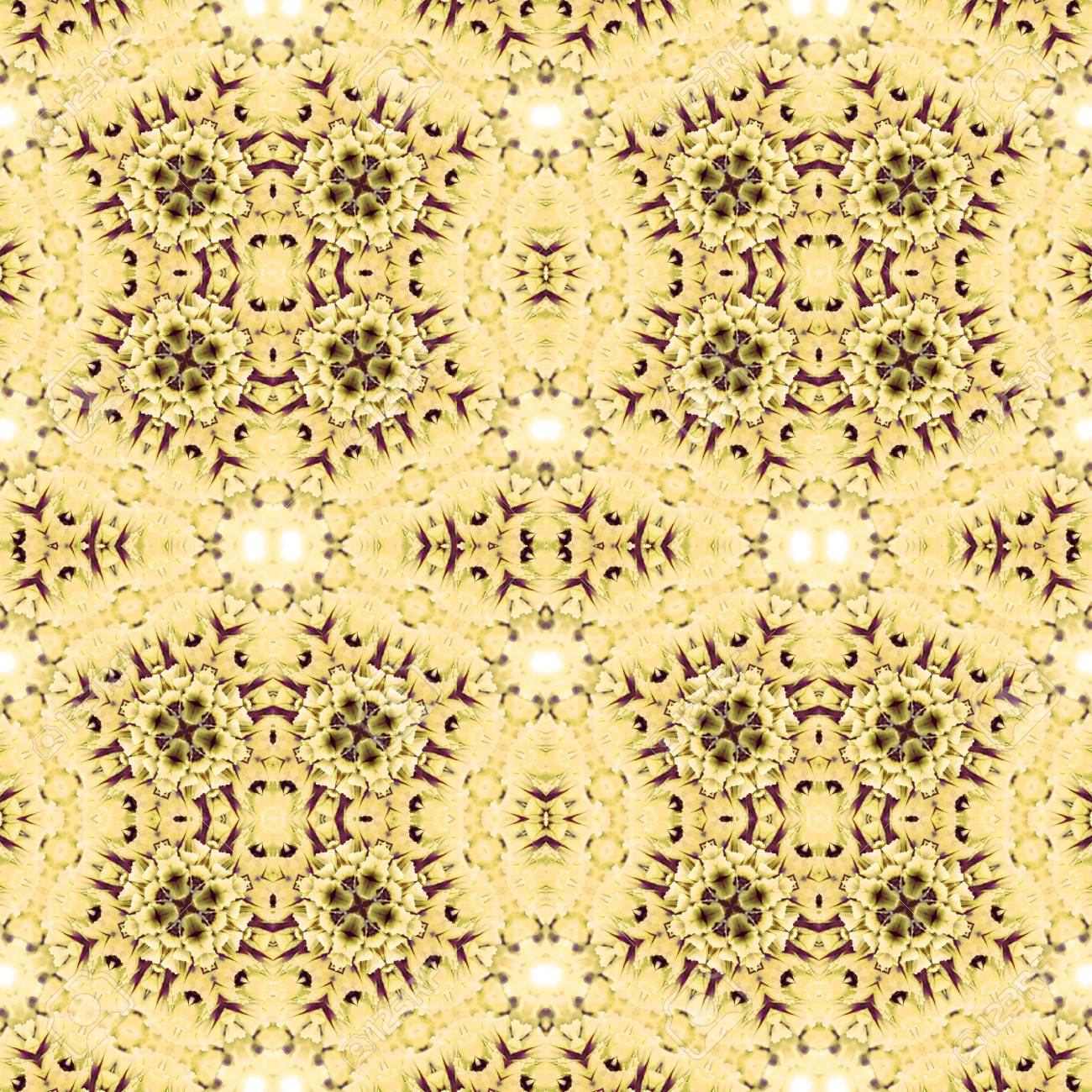Abstract flowers seamless pattern background. Kaleidoscope from flowers. Hydraulic tile design. - 104075057