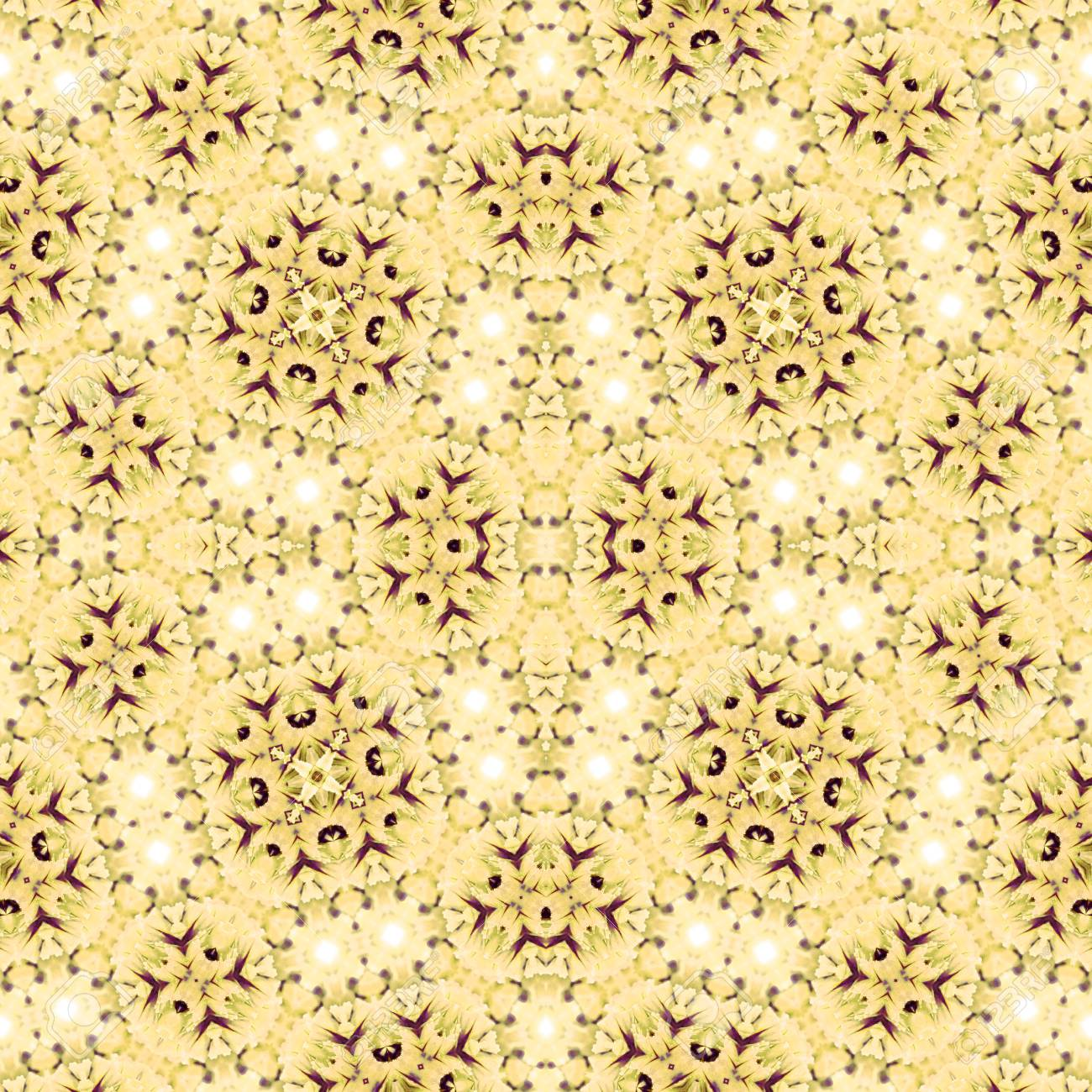 Abstract flowers seamless pattern background. Kaleidoscope from flowers. Hydraulic tile design. - 104075097